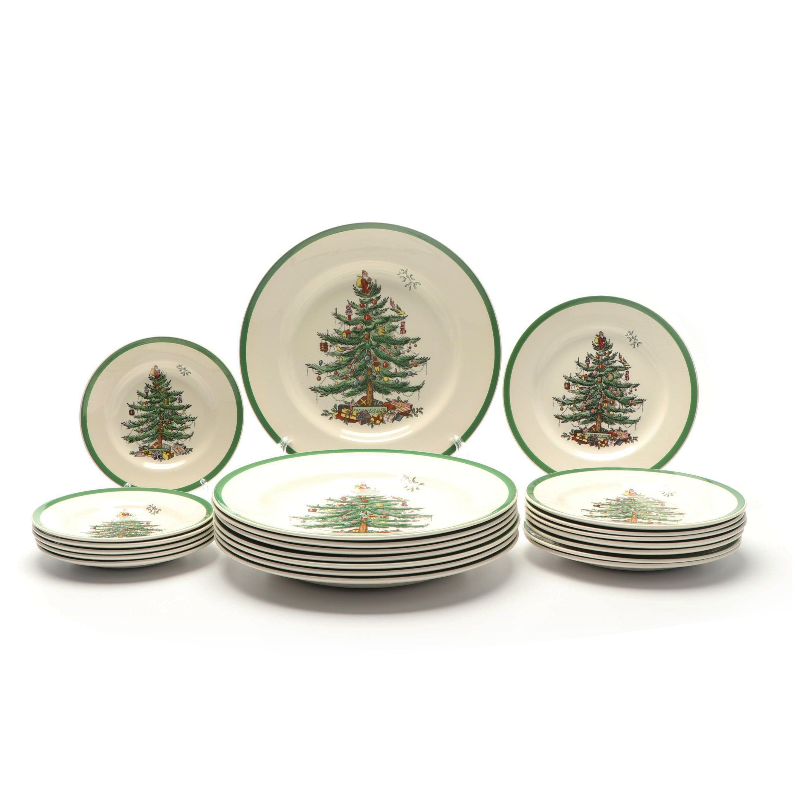 """Spode """"Christmas Tree"""" Earthenware Dinner, Salad, and Bread Plates"""