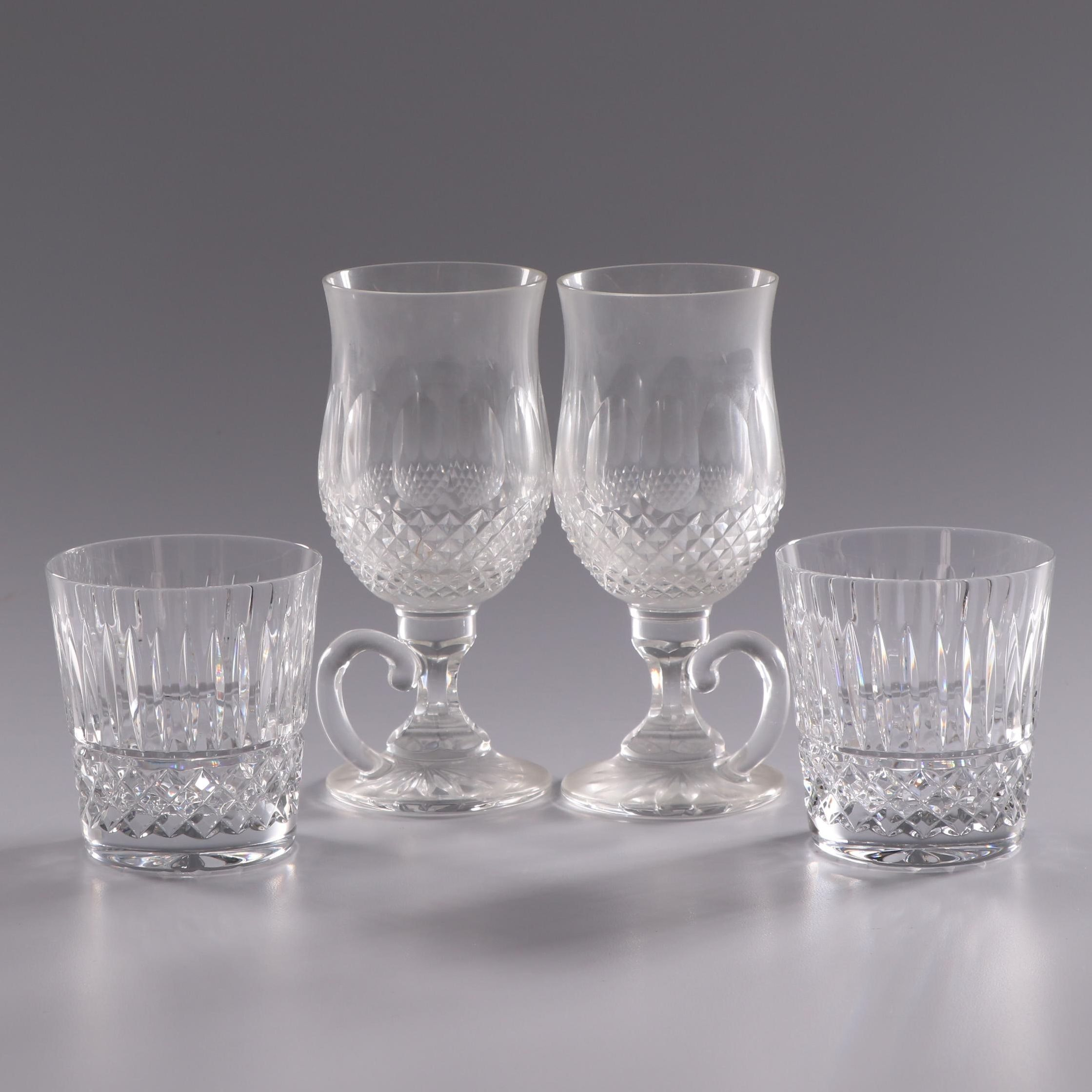 "Waterford Crystal ""Colleen"" Irish Coffee Mugs and ""Maeve"" Old Fashioned Glasses"