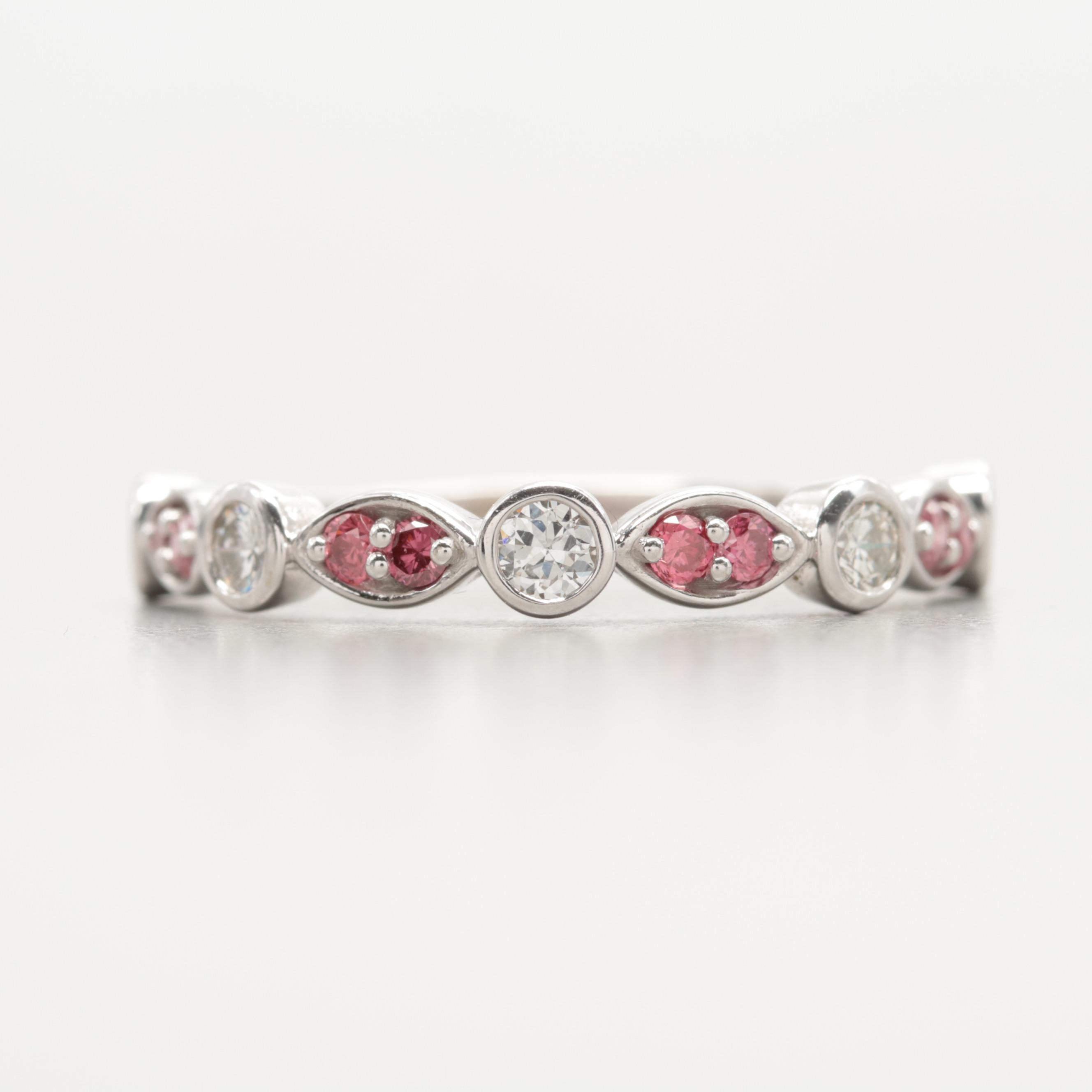 14K White Gold Diamond Ring Featuring Pink Diamonds