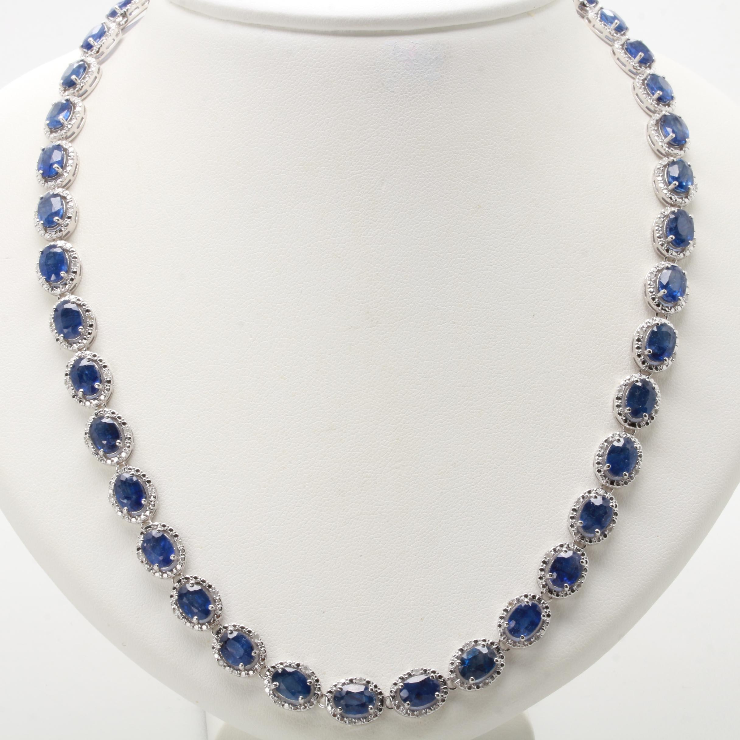 Sterling Silver Corundum and Diamond Necklace