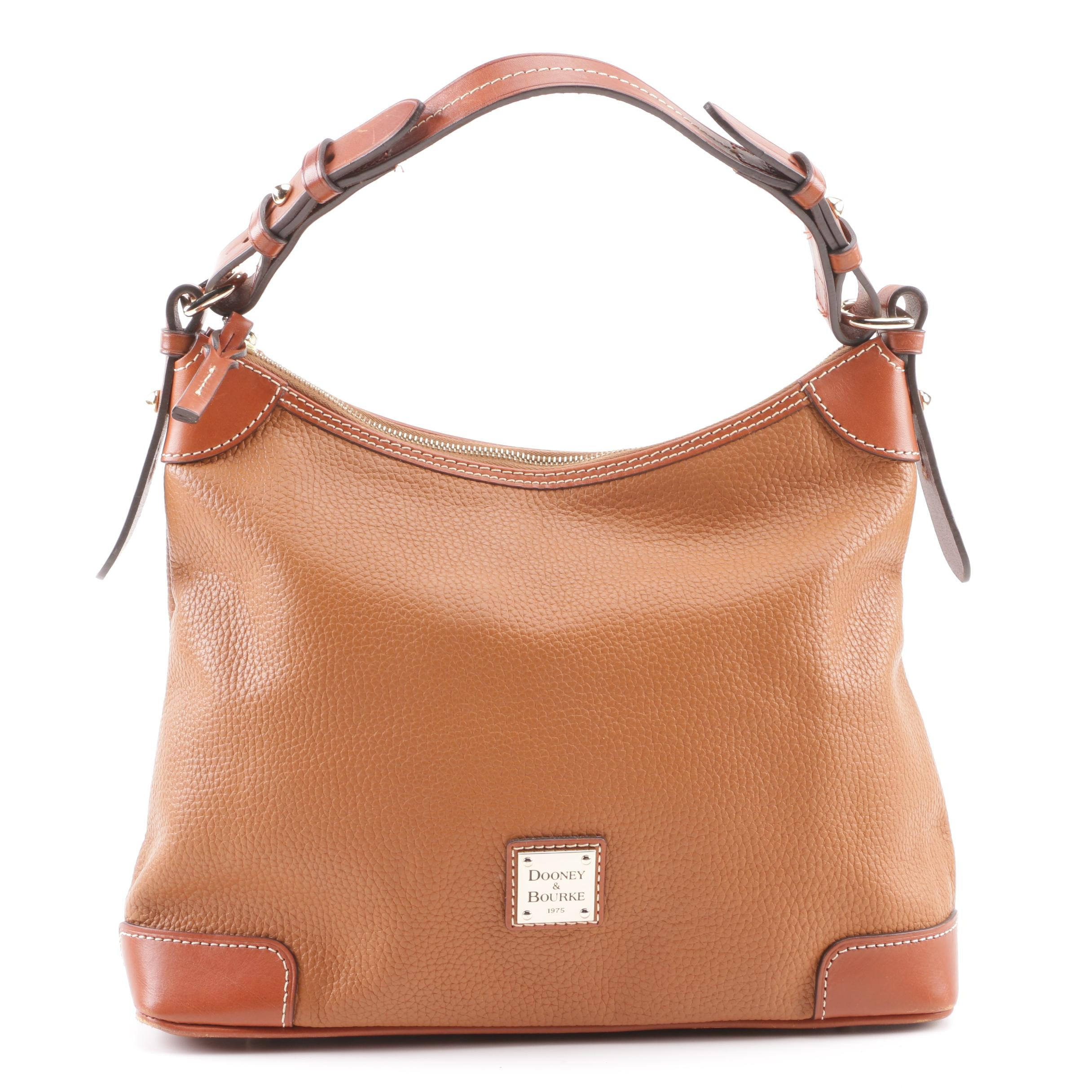 Dooney & Bourke Pebbled Brown Leather Hobo Bag