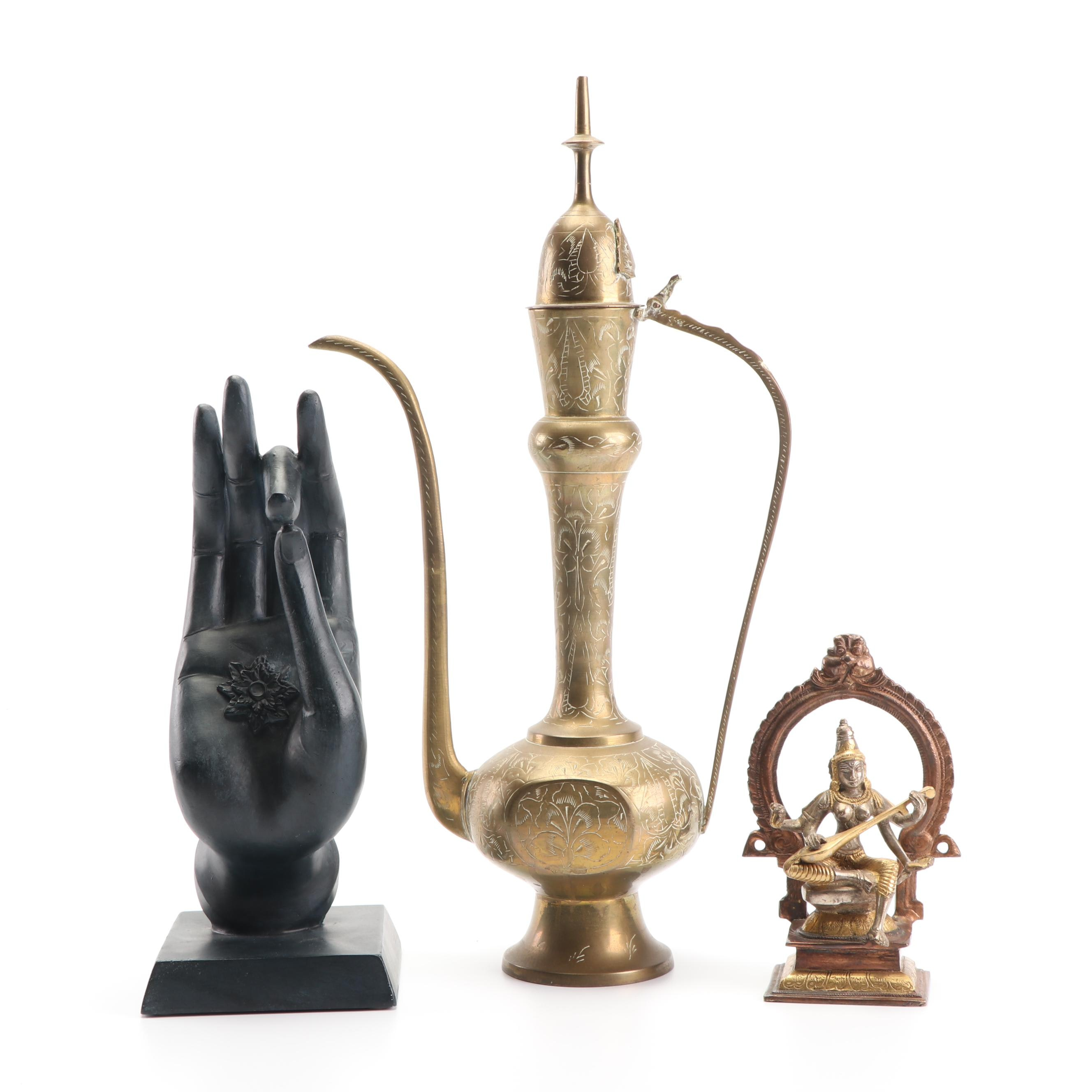 Saraswati Bronze Sculpture, Shuni Mudra Sculpture, and Persian Brass Teapot