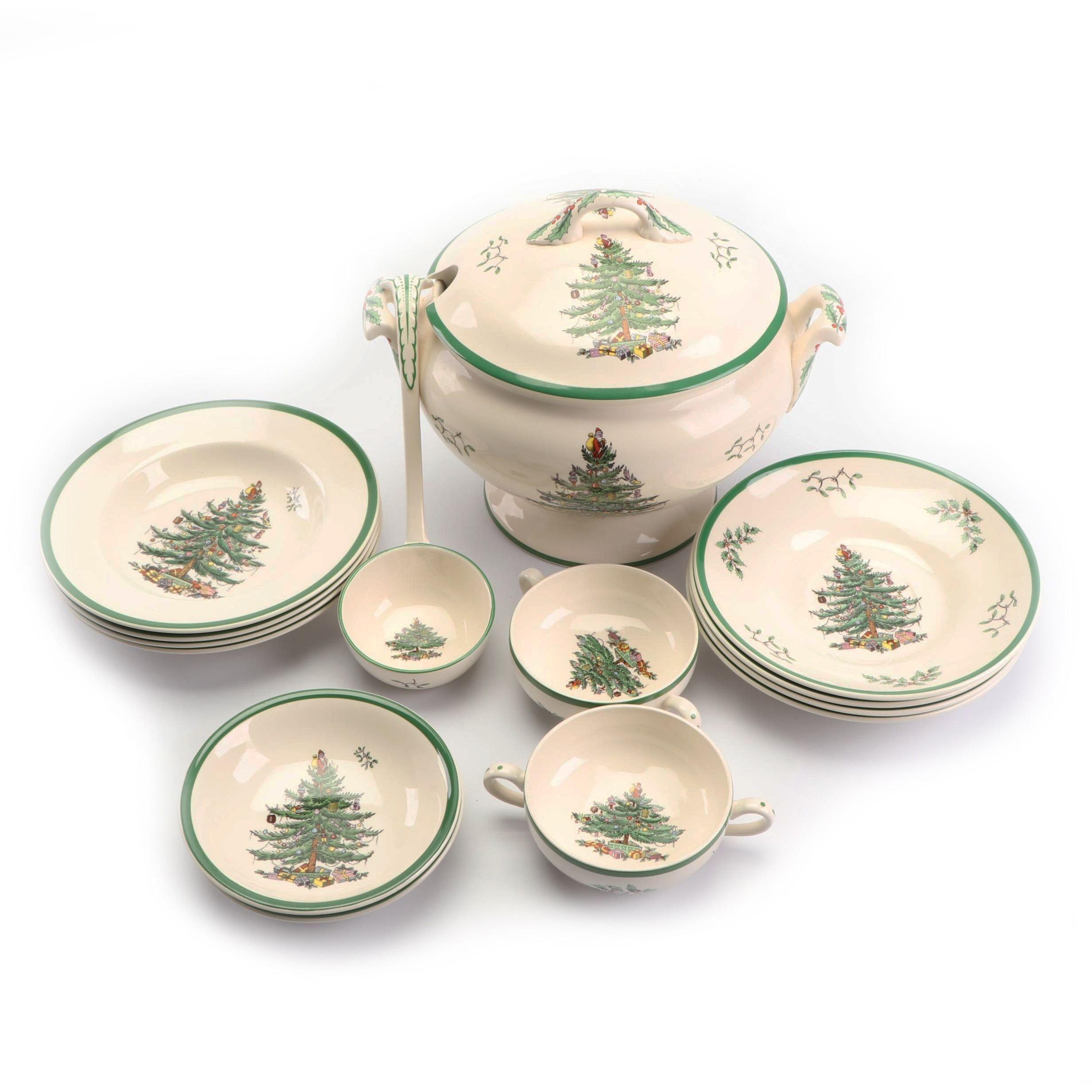 "Spode ""Christmas Tree"" Earthenware Soup Tureen and Bowls"