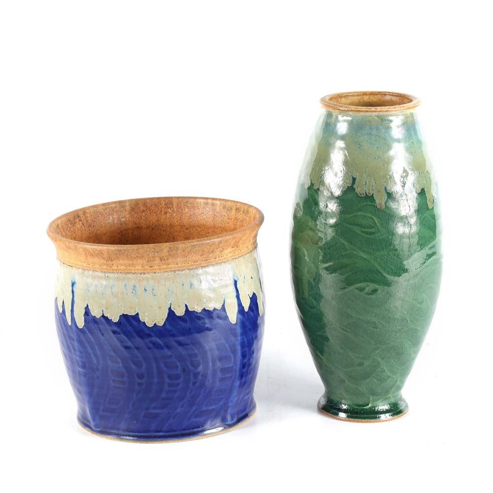 Allan Ditton Pottery Wheel Thrown Stoneware Vases
