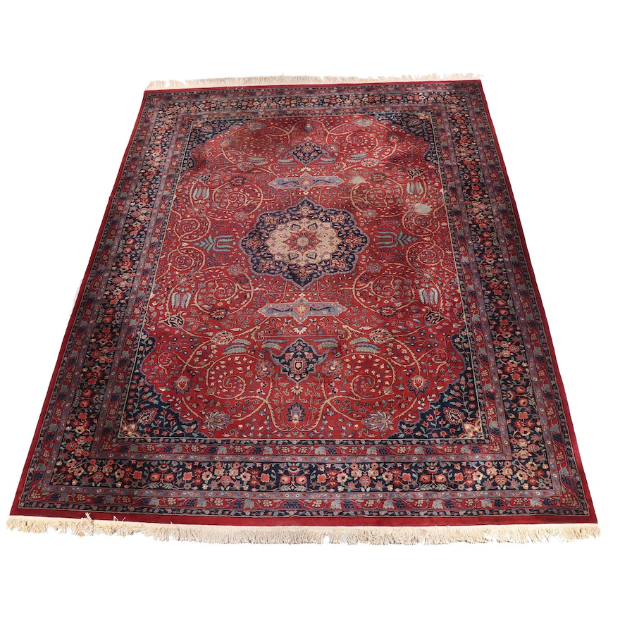 Finely Hand Knotted Indian Semnam Wool Room Sized Rug For Pande Cameron