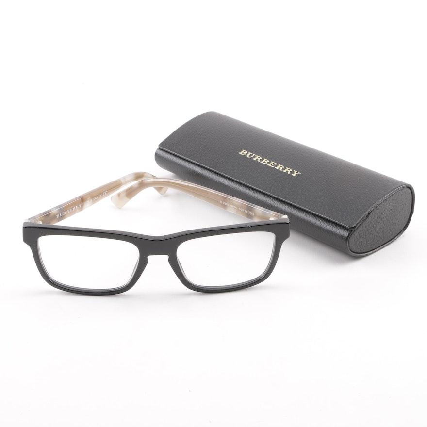 2d886841928 Burberry Black and Check Print Eyeglasses   EBTH