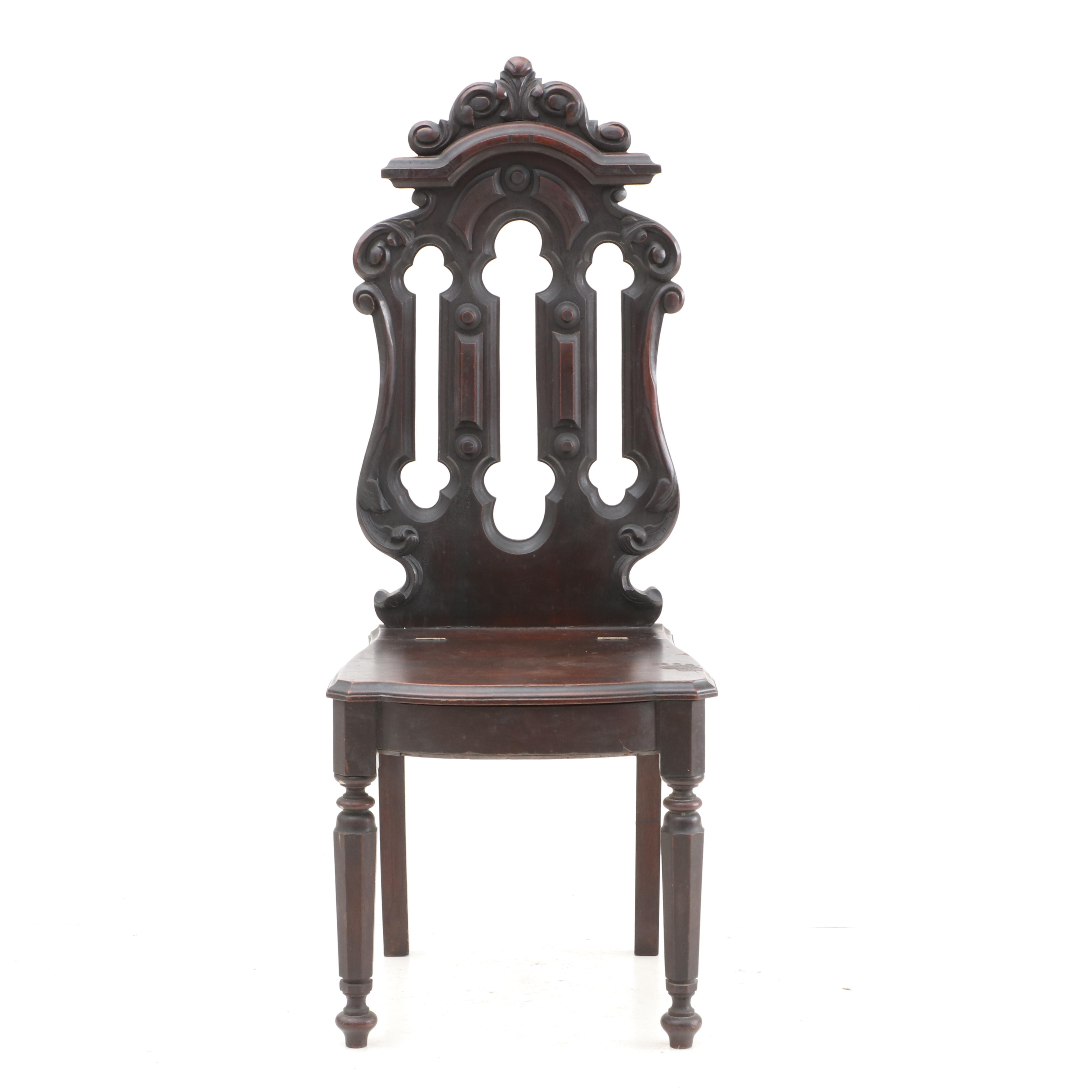 Gothic Revival Walnut Hall Chair, Mid-19th Century