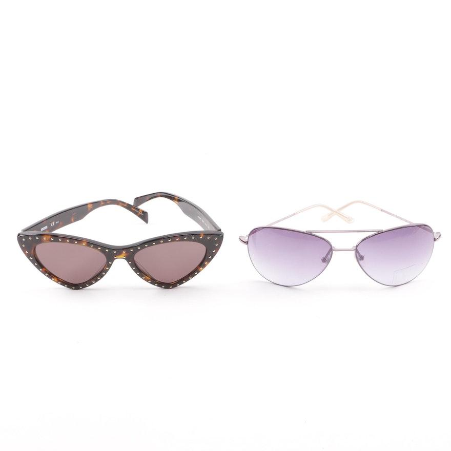 be400440f491f Moschino Studded Cat Eye and Diane von Furstenberg Aviator Sunglasses ...