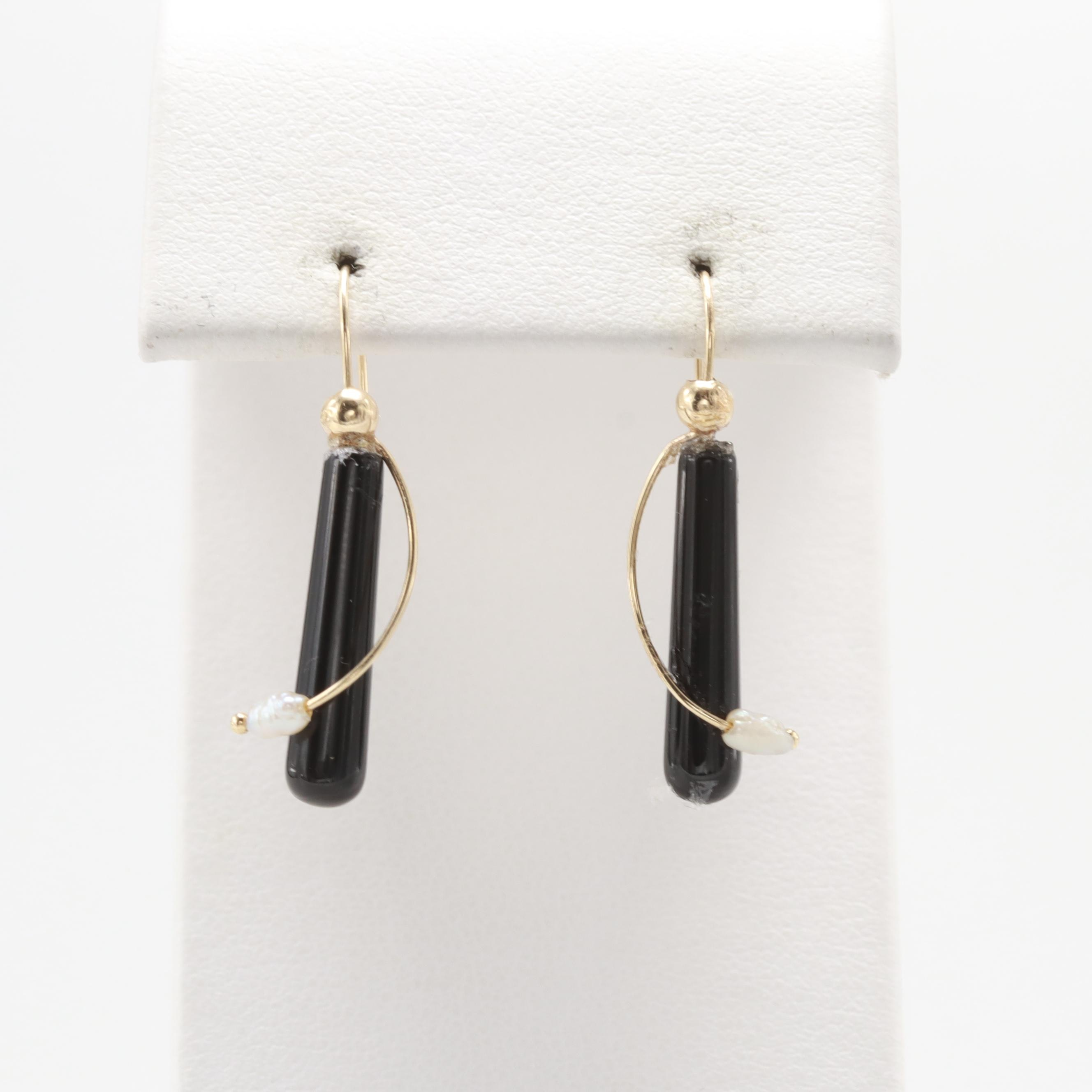 14K Yellow Gold Black Onyx and Cultured Pearl Earrings