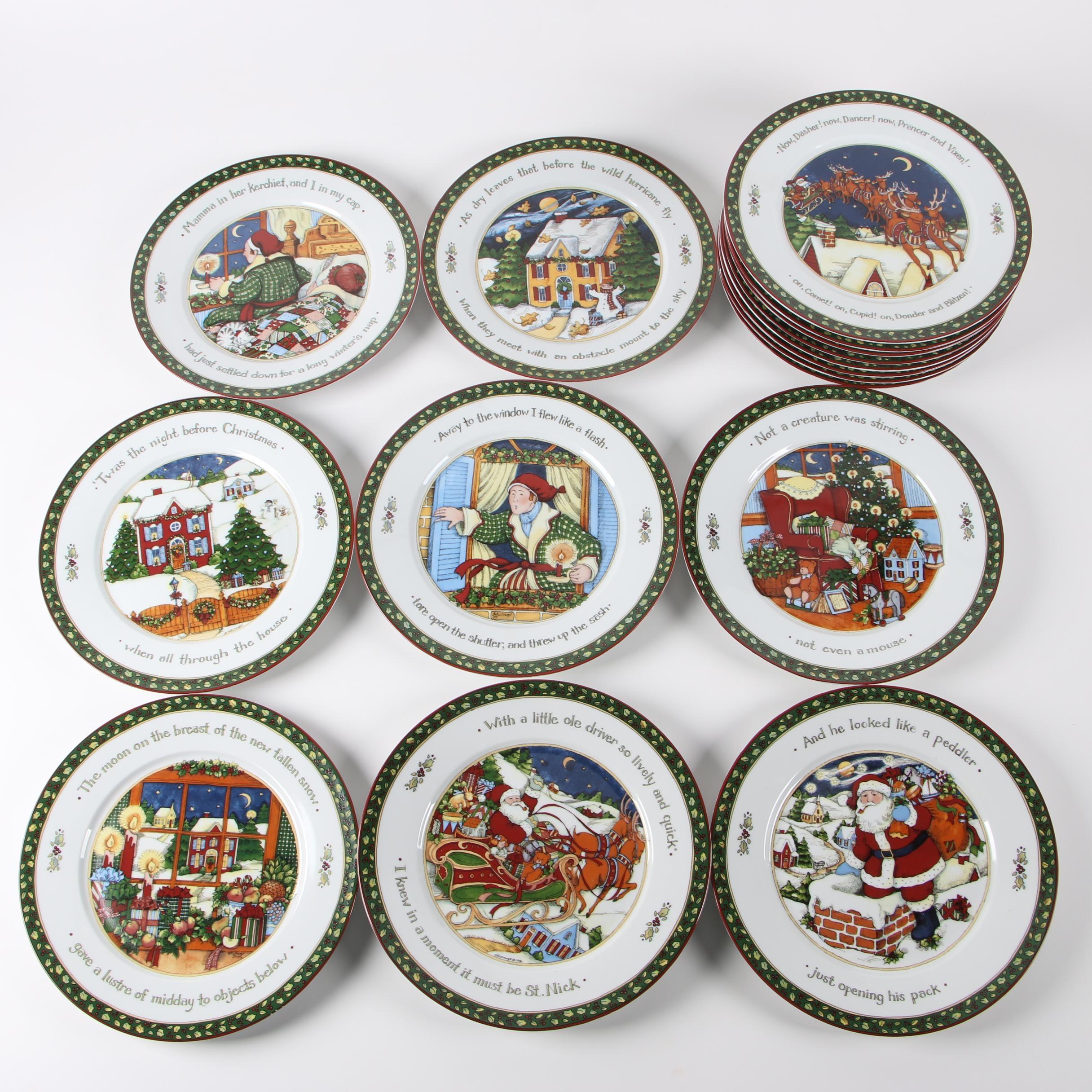 "Portmeirion Studio ""A Christmas Story"" Porcelain Dinner Plate Set"