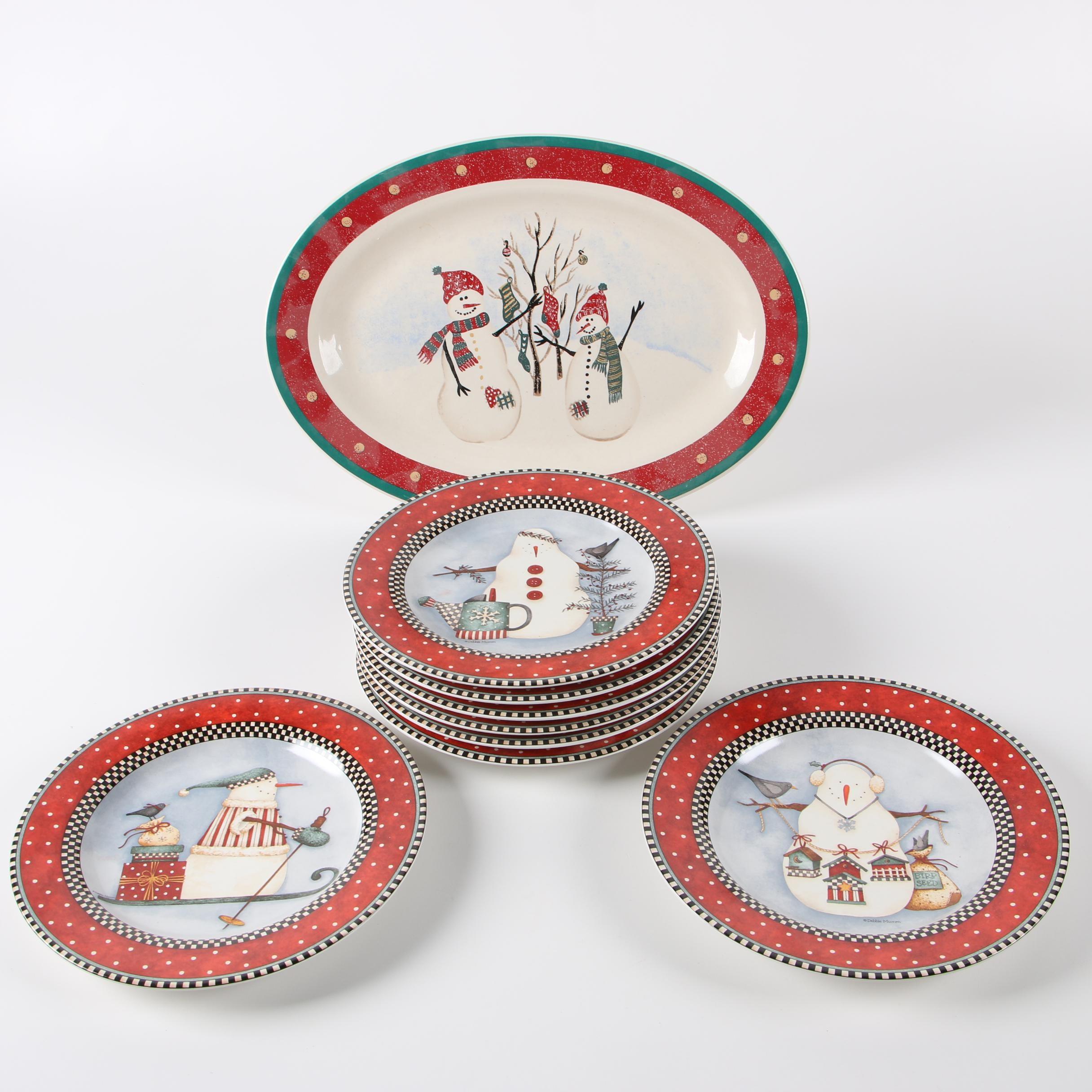 "Sakura ""Frosty Folks"" Stoneware Plates with Royal Seasons Stoneware Platter"