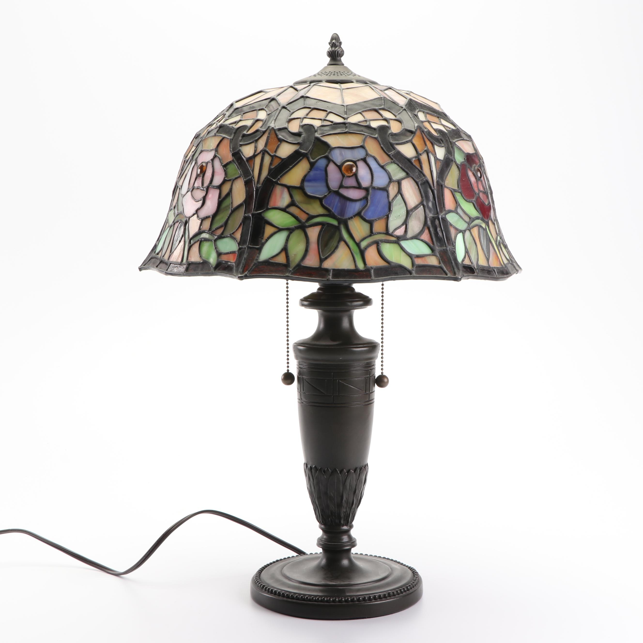 Metal Table Lamp with Domed Floral Stained Glass Shade
