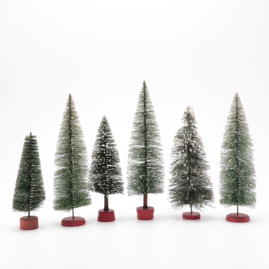 Christmas Tree Disposal San Diego: Vintage Bottle Brush Evergreen Trees With Flocked Snow