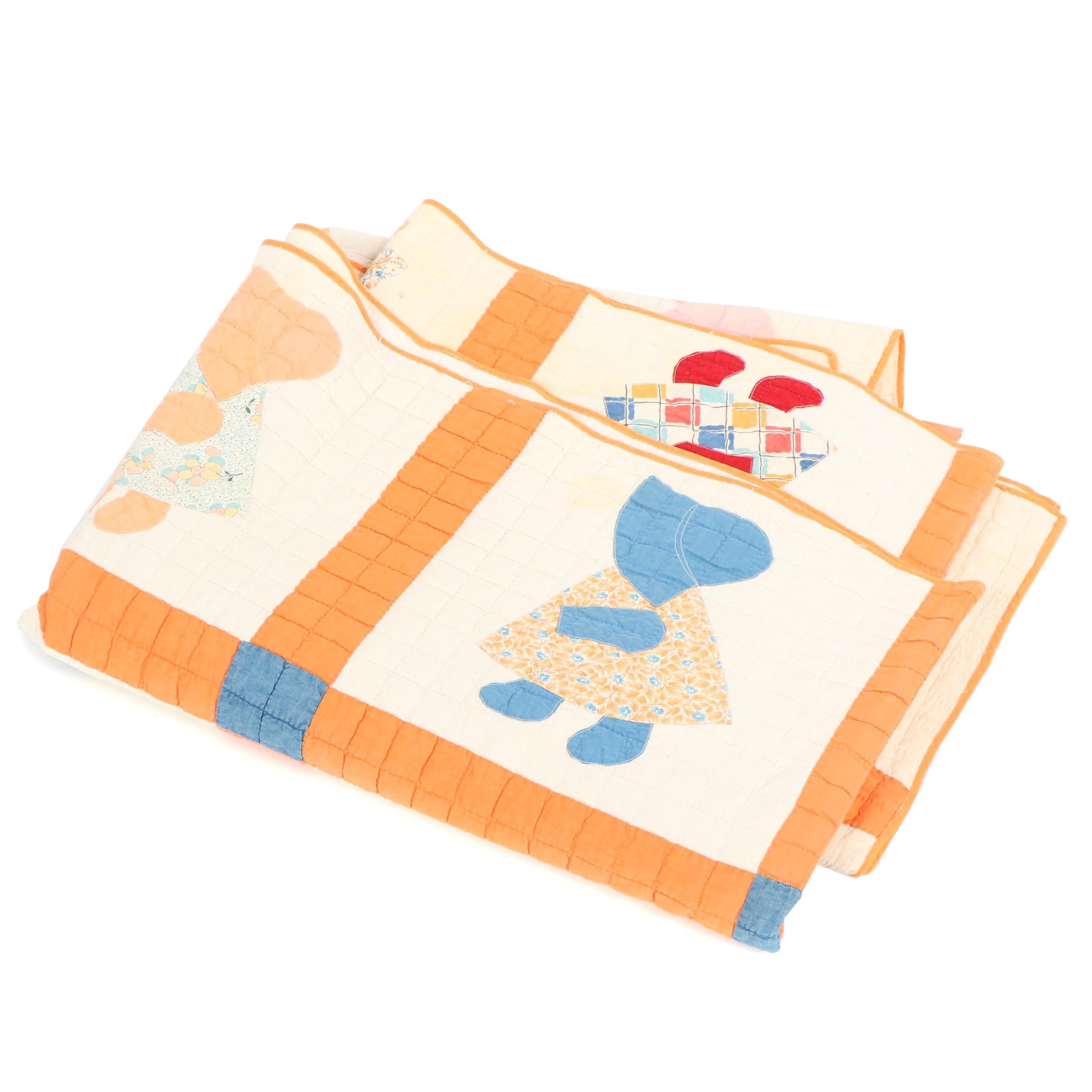 """Handmade """"Sunbonnet Sue"""" Applique Quilt"""