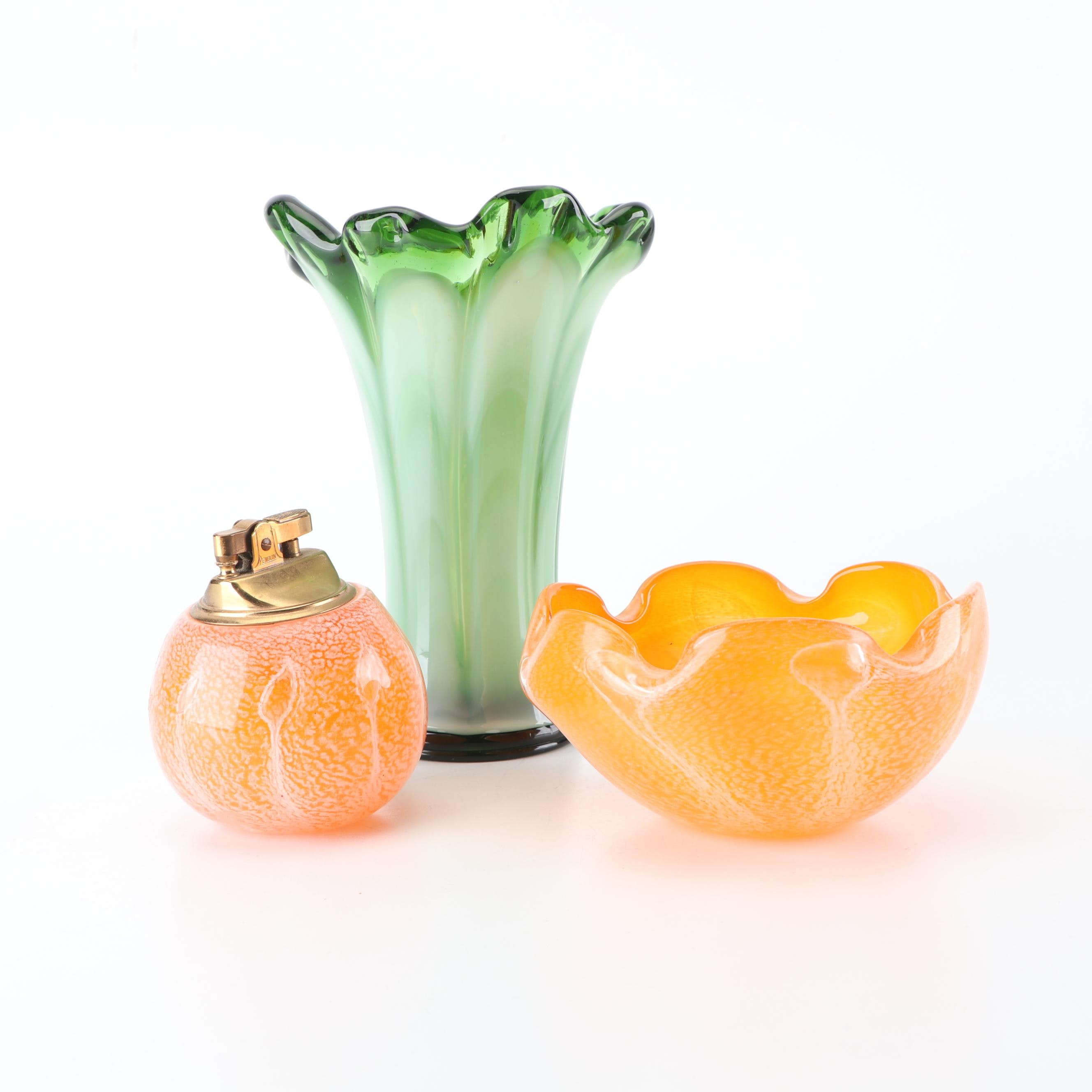 Murano Style Art Glass Ash Receiver with Table Lighter and Swung Vase