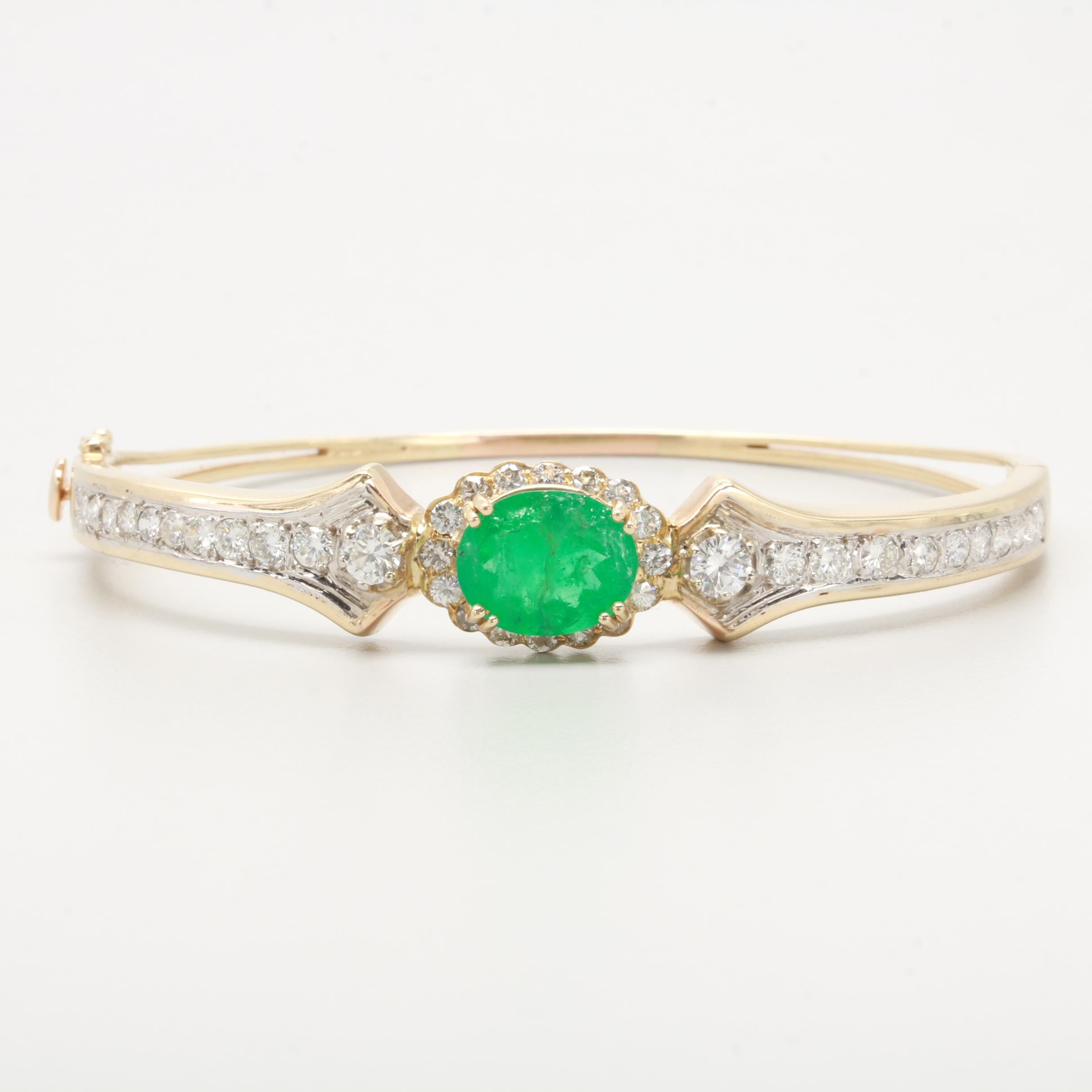 14K Yellow Gold Emerald and 2.37 CTW Diamond Bracelet