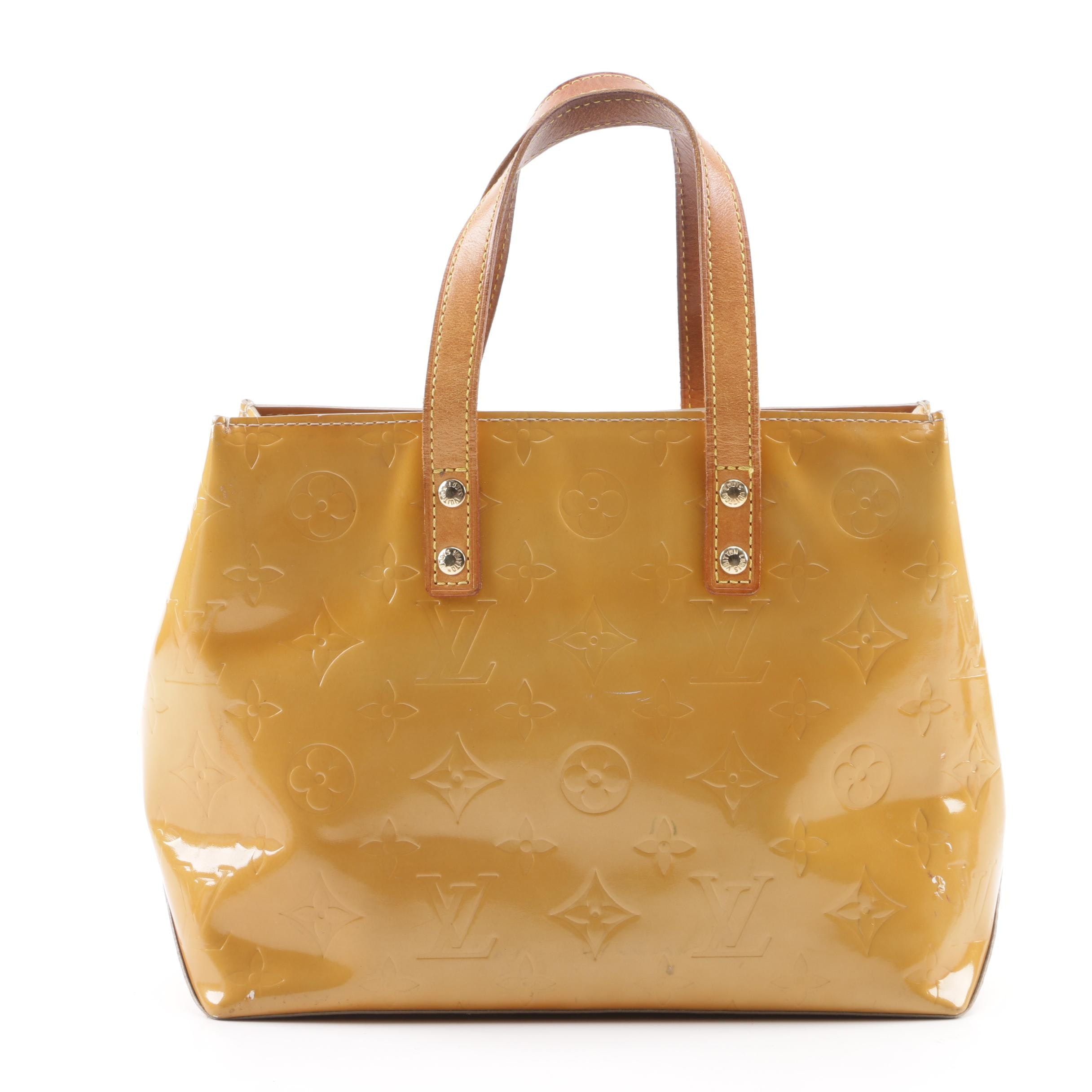 2001 Louis Vuitton Reade PM Mango Vernis Leather Tote Handbag