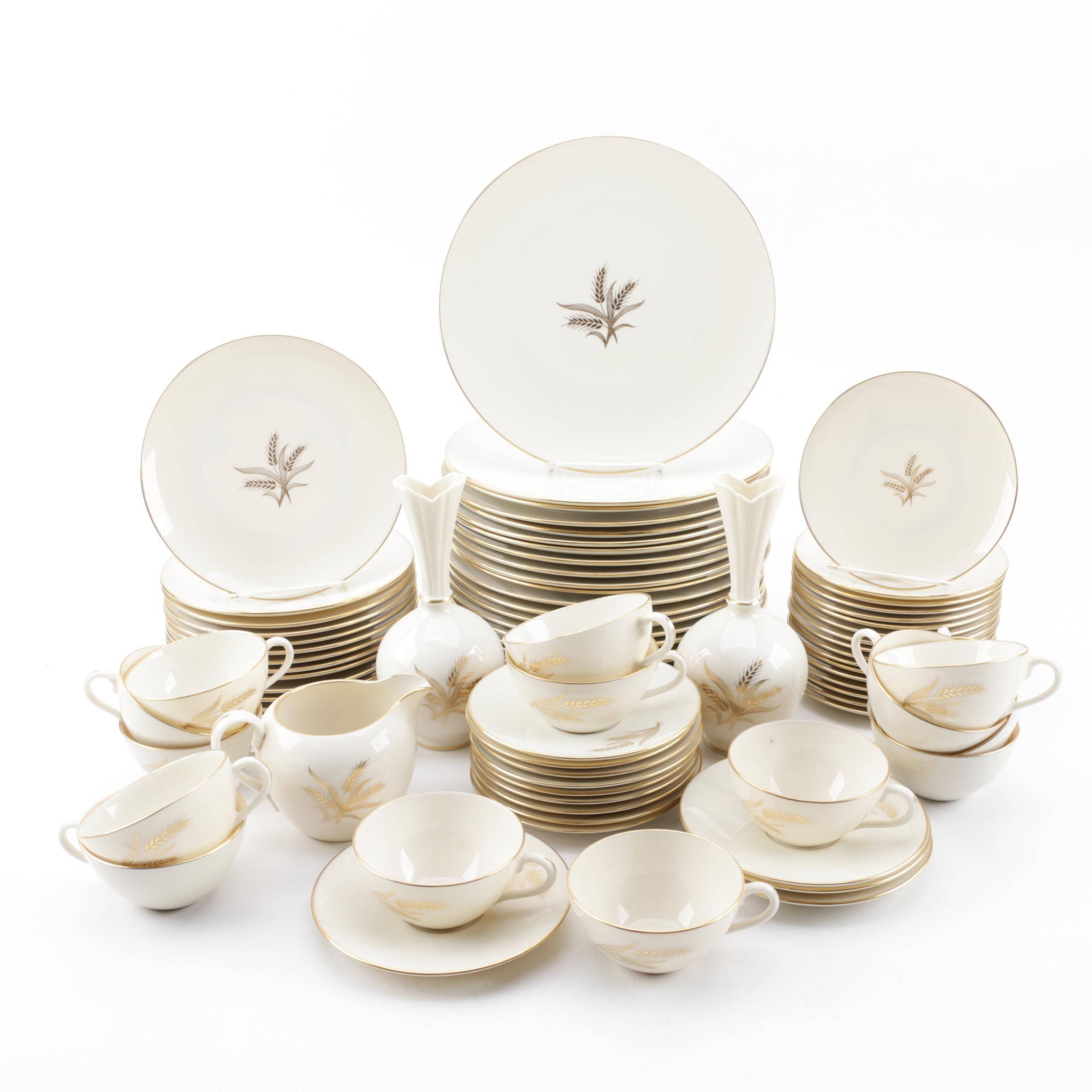 "Lenox ""Wheat"" Bone China Dinnerware and Bud Vases, Mid-Late 20th Century"