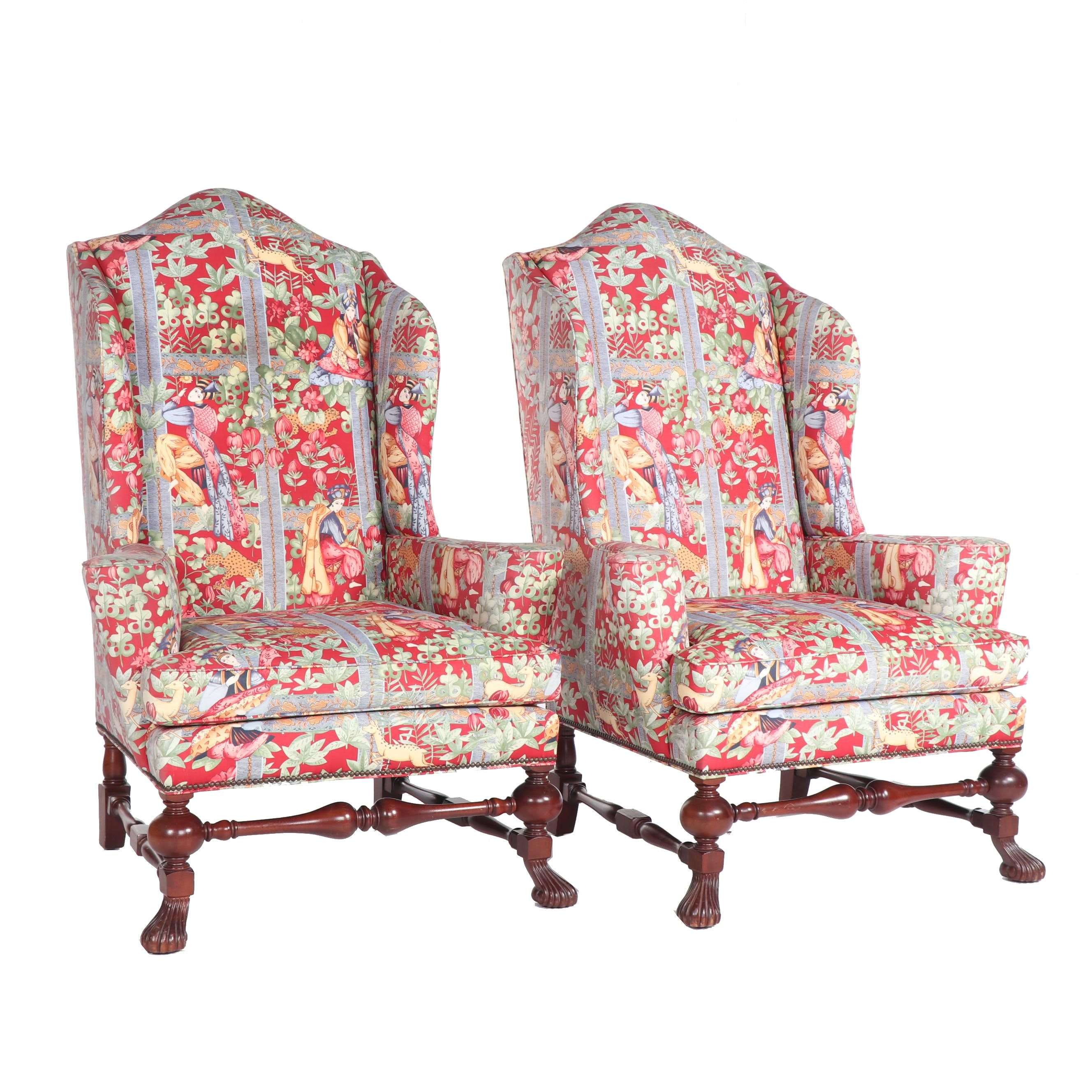 Baker Upholstered Wingback Armchairs, 21st Century