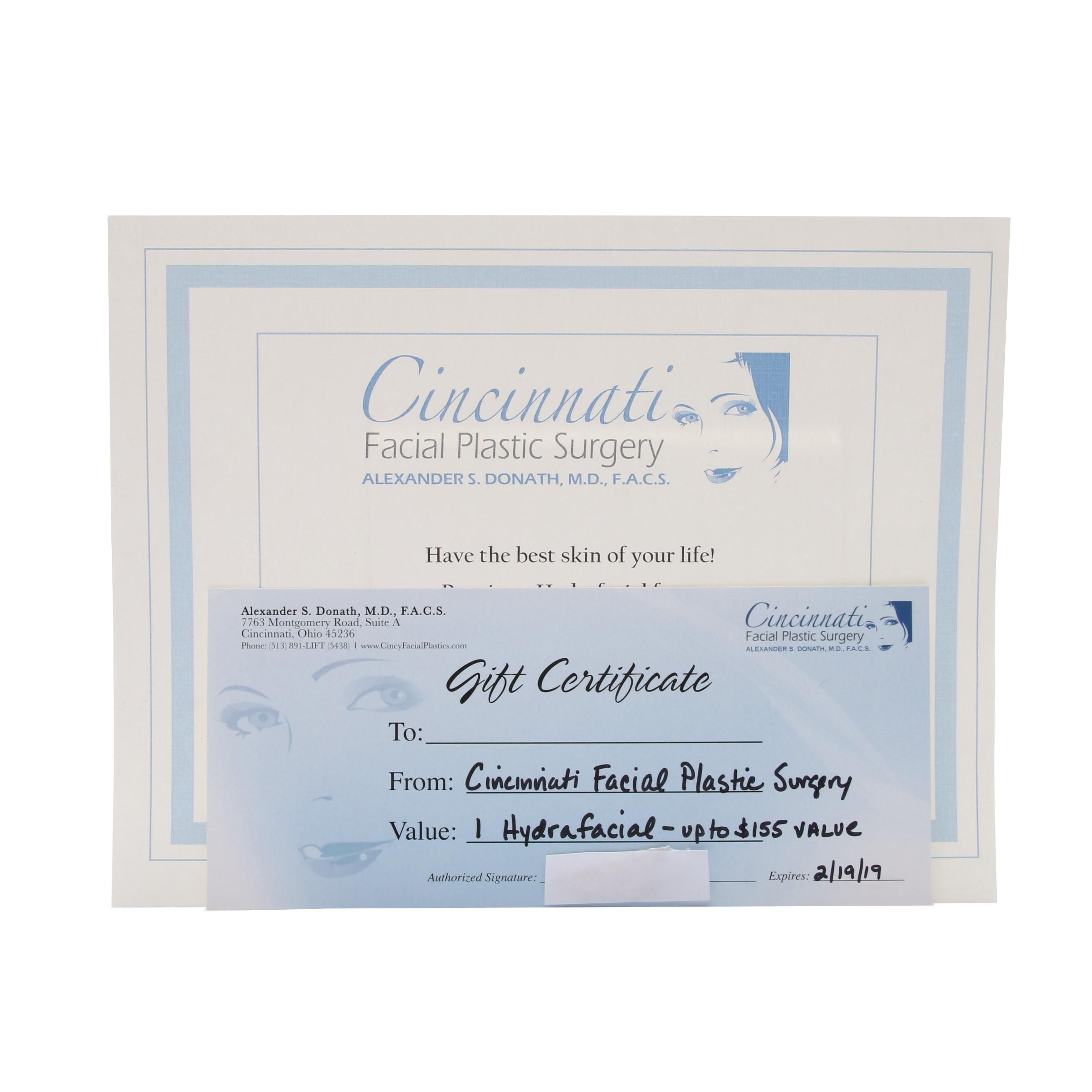 Cincinnati Facial Plastic Surgery HydraFacial Gift Certificate