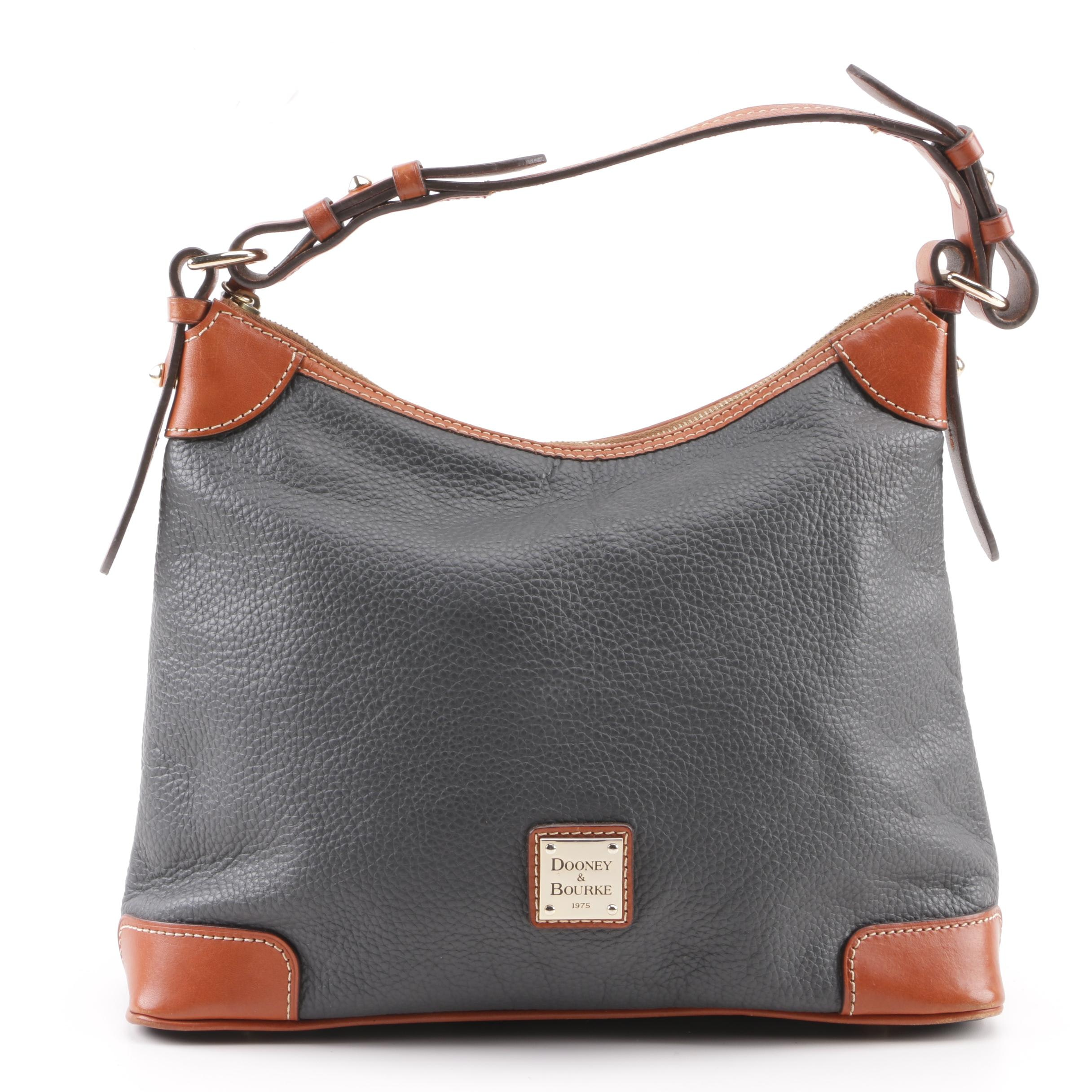 Dooney & Bourke Black and Cognac Leather Hobo Bag