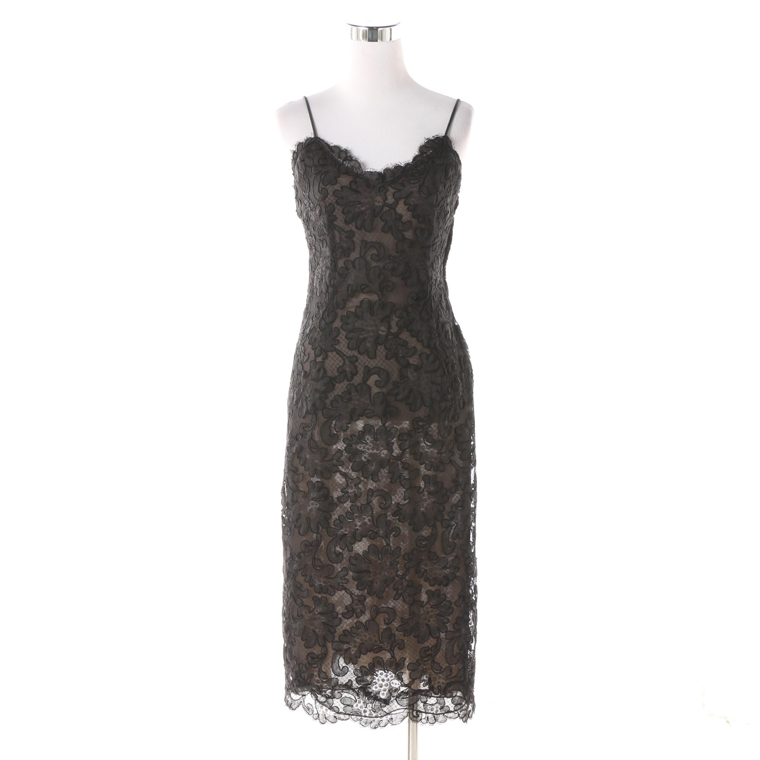 Circa 1980 Vintage Oscar de la Renta Black Lace Cocktail Dress