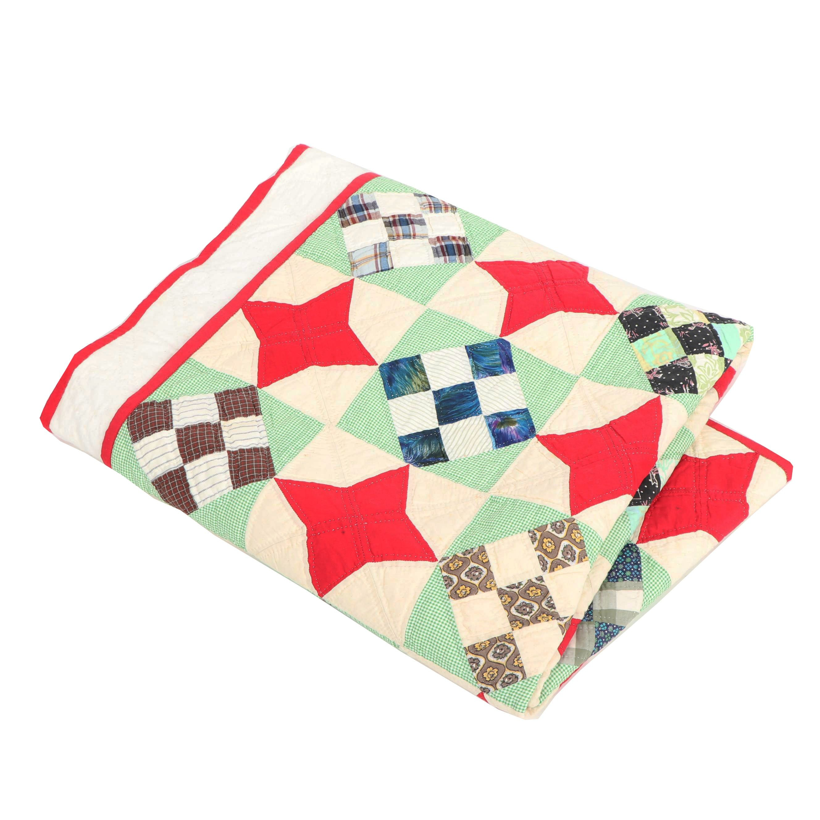 """Handmade """"Four Point Star and Diamond Patchwork"""" Quilt"""