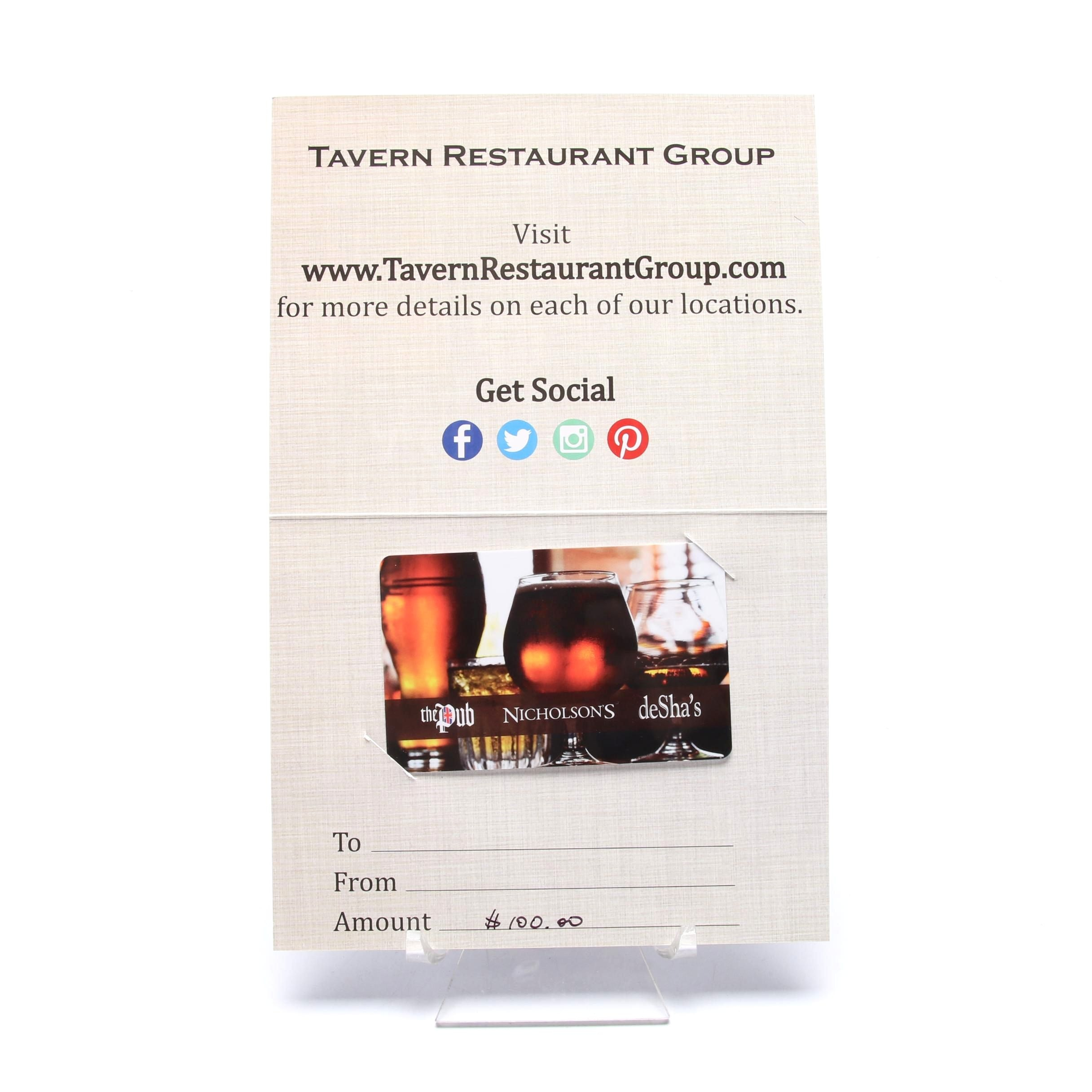 Tavern Restaurant Group $100 Gift Card