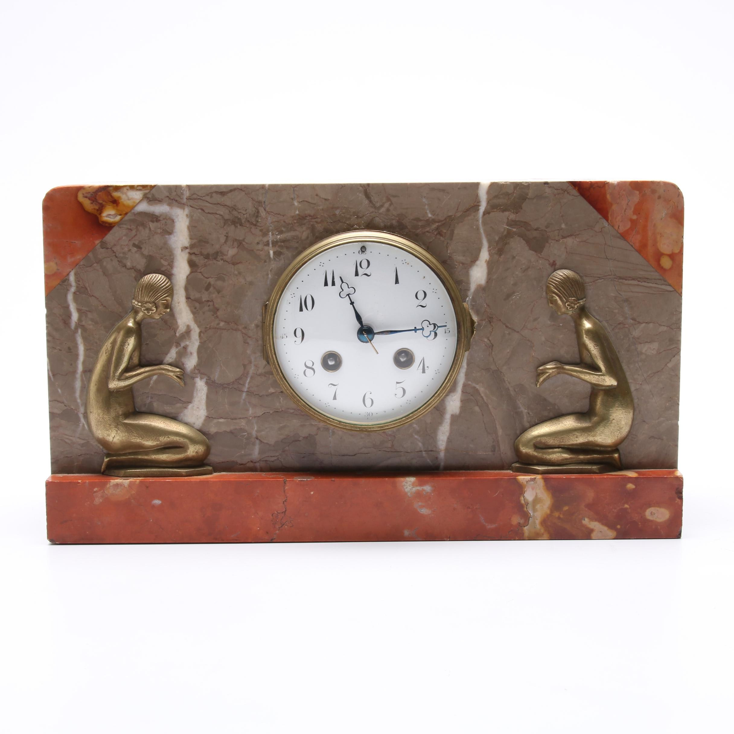 Art Deco Marble Mantle Clock with Brass Relief Nudes