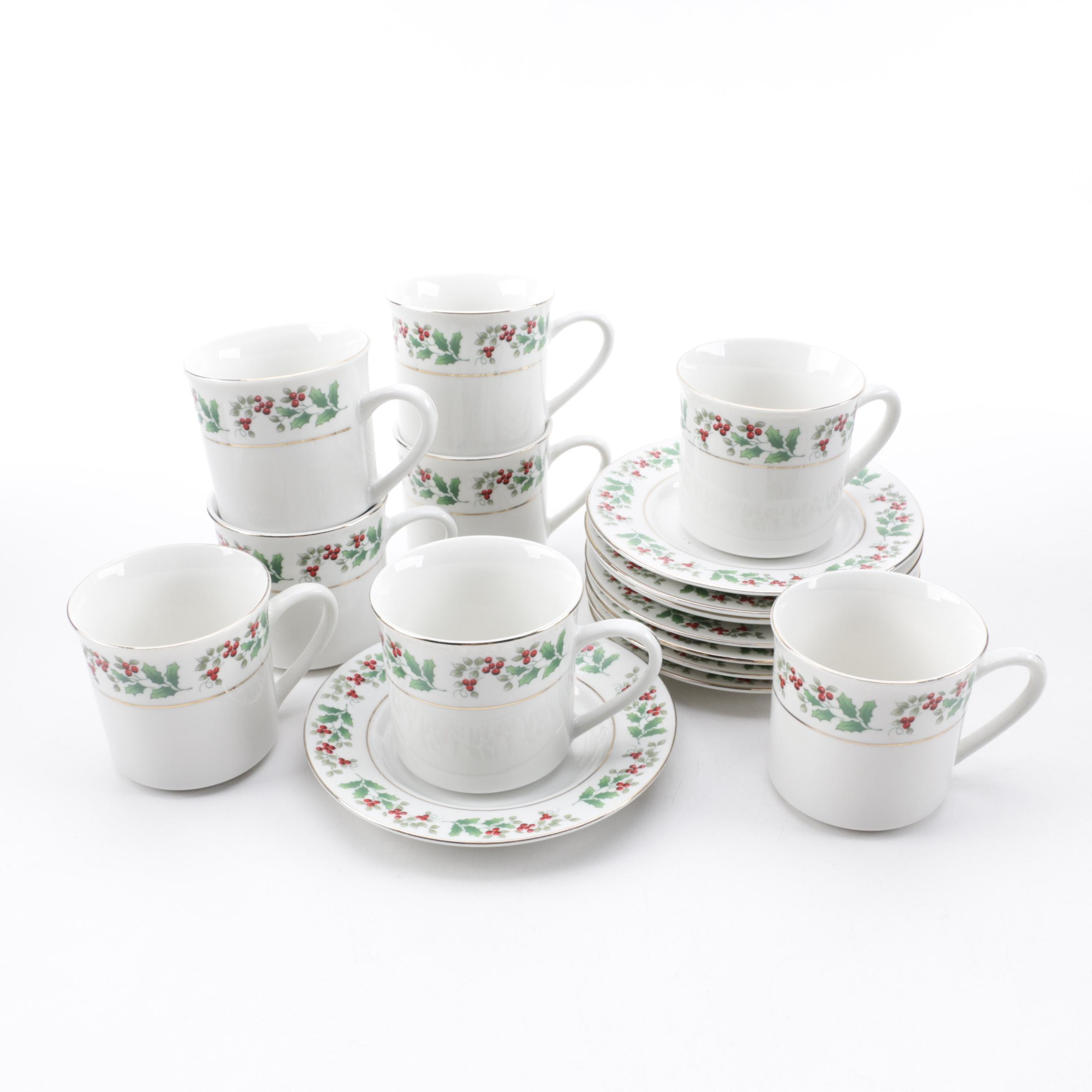 "Gibson ""Christmas Charm"" Porcelain Flat Cups and Saucers for Eight"