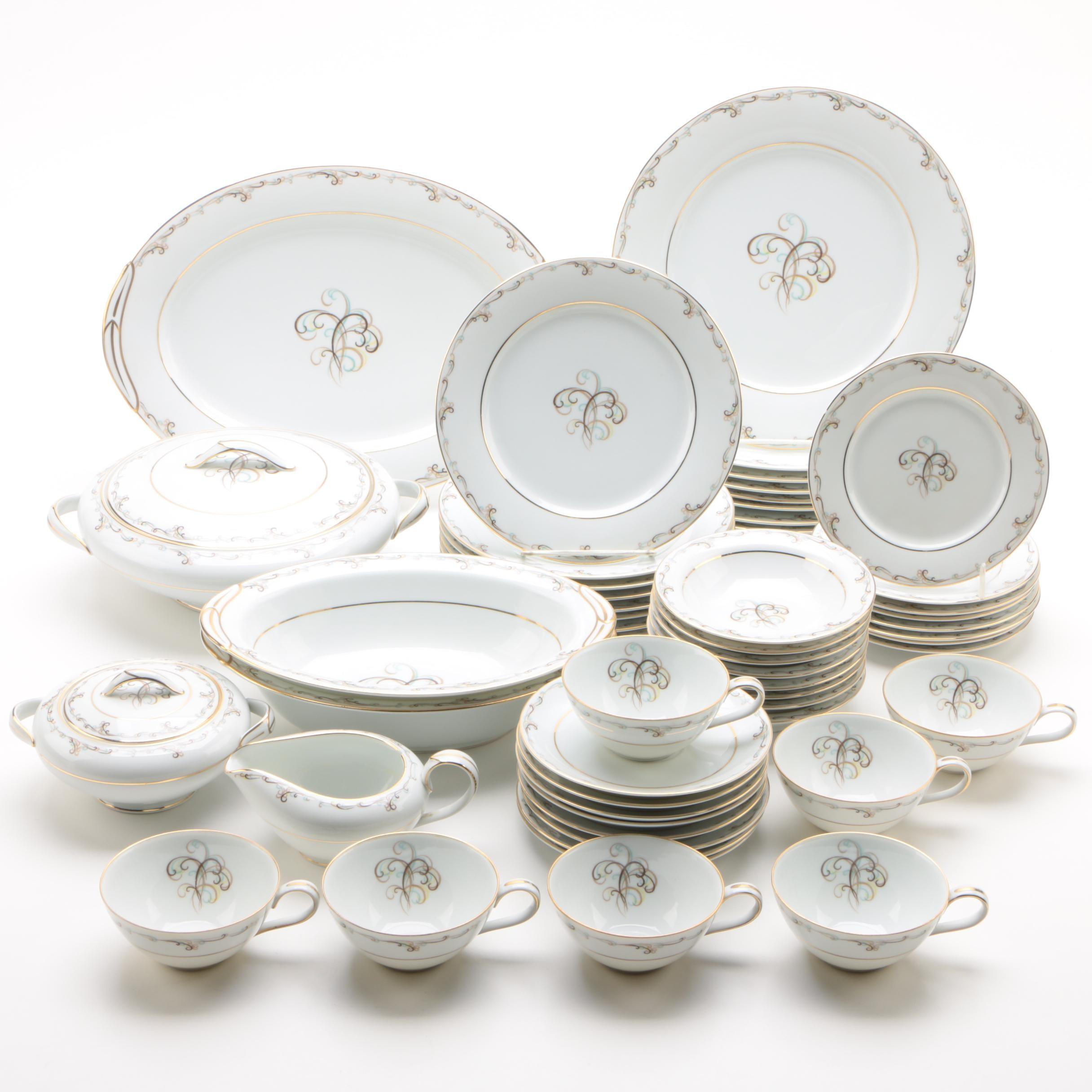 "Vintage Noritake ""Esteem"" Porcelain Dinnerware Service c. 1953-60"