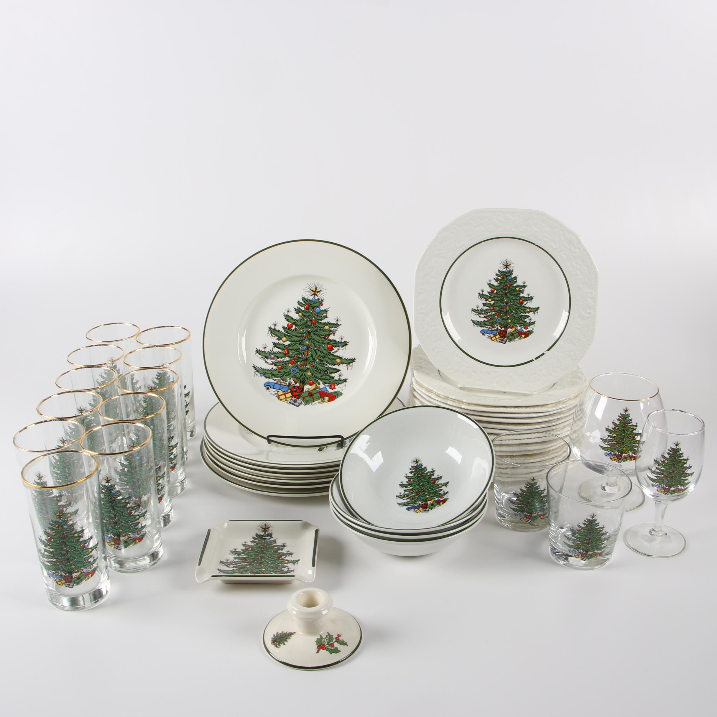 "Cuthbertson ""Christmas Tree"" Ceramic and Glass Dinnerware"