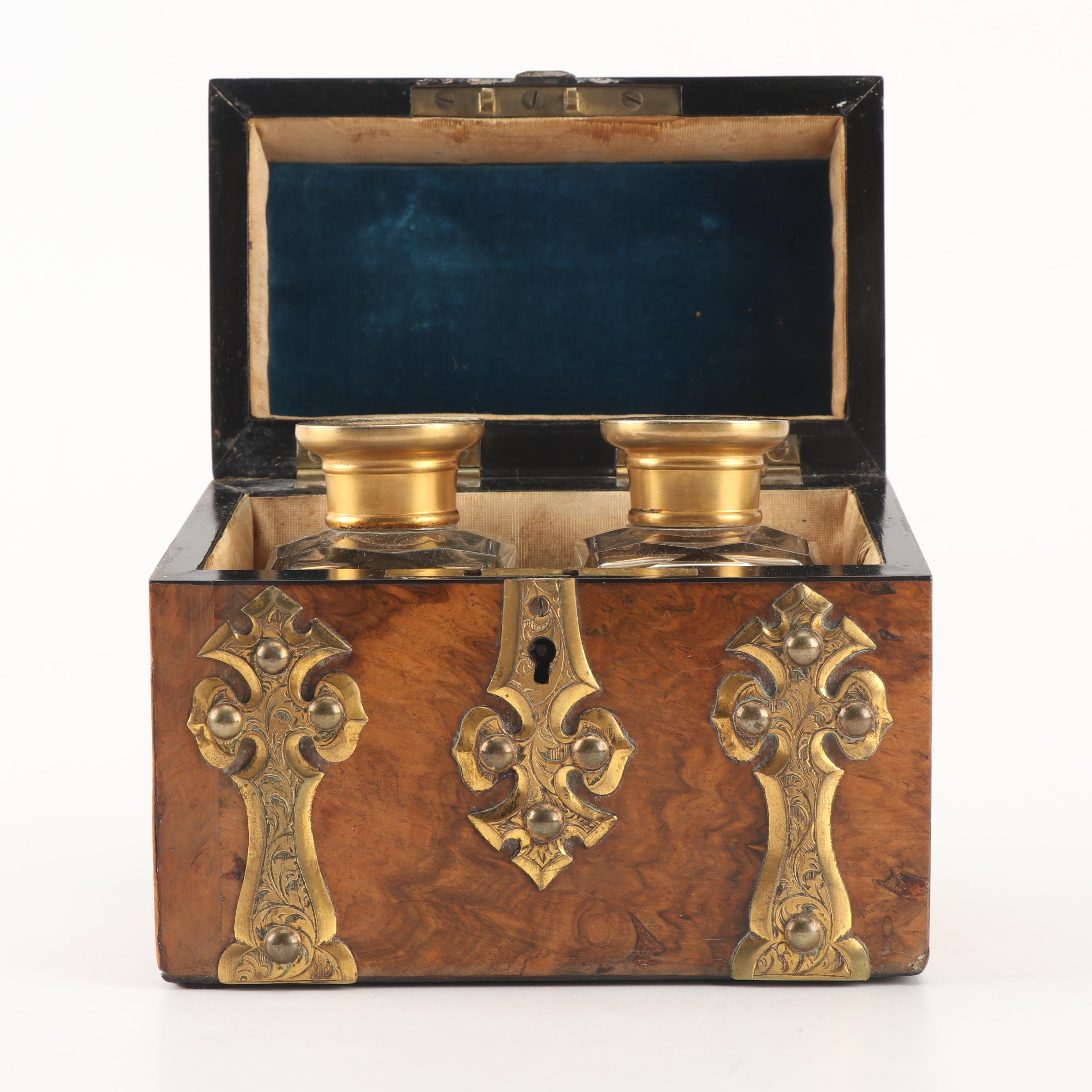 Victorian Brass-Mounted Figured Walnut Perfume Tantalus, Late 19th Century