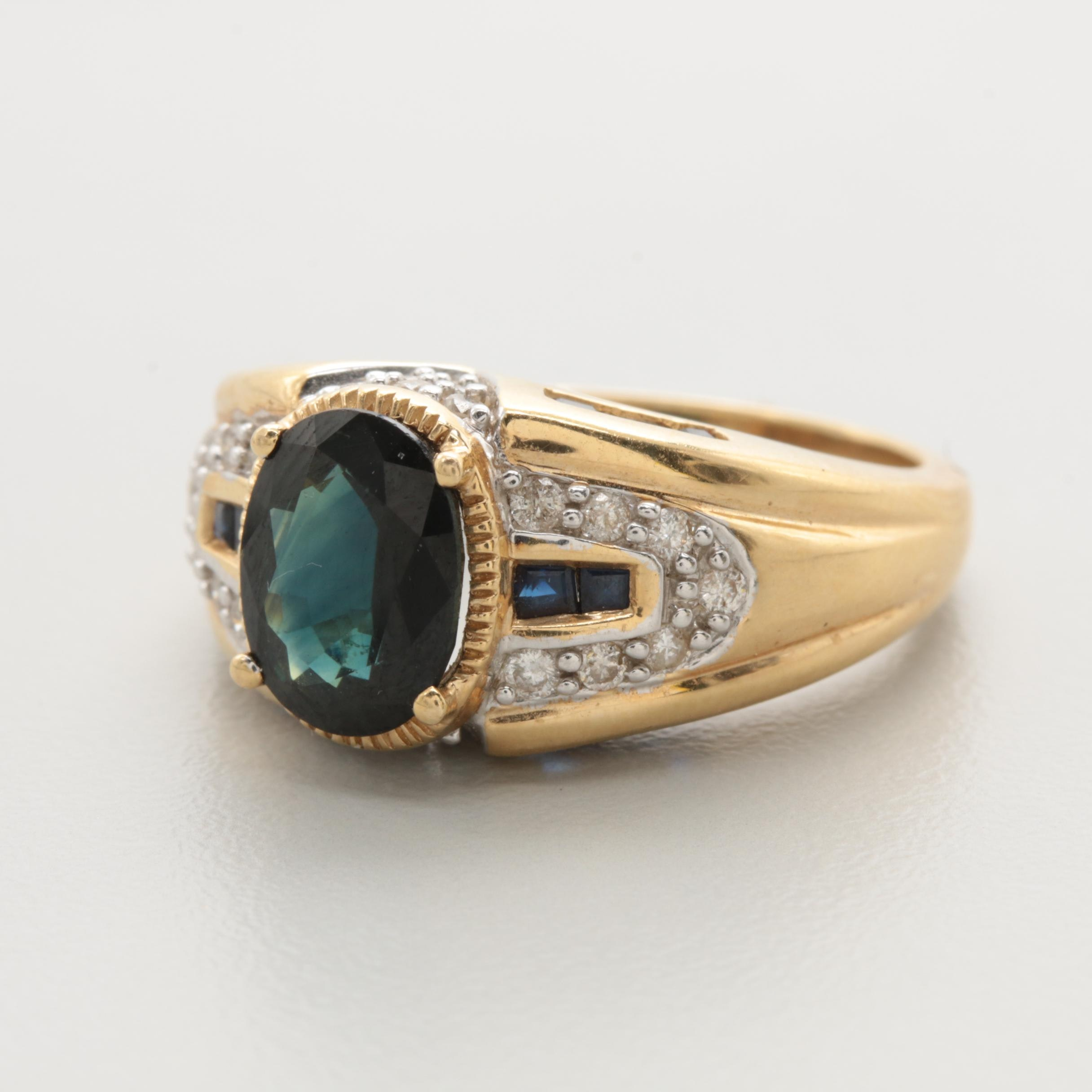 14K Yellow Gold Sapphire and Diamond Ring with 1.67 CT Center Stone