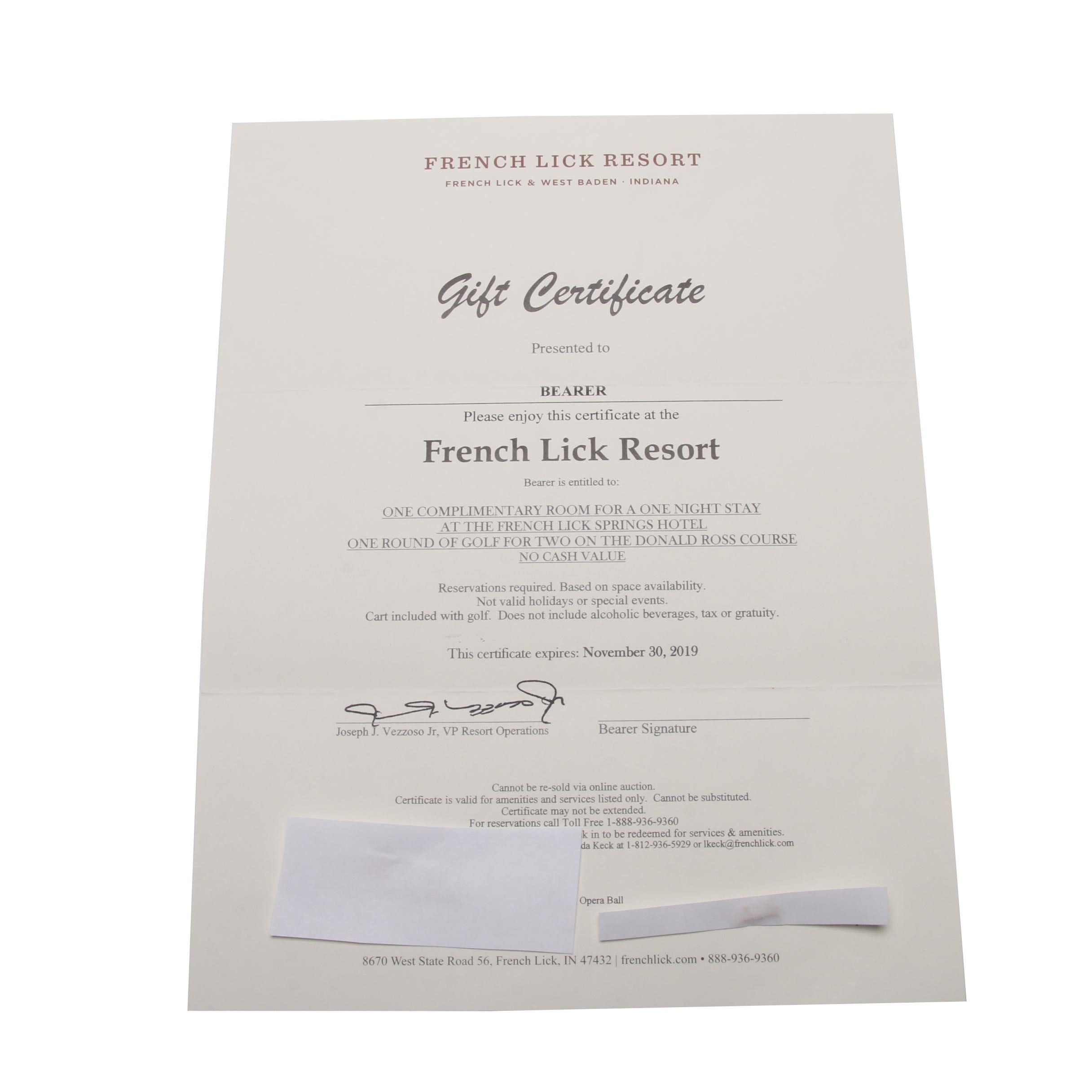 French Lick Resort Certificate for One Night Stay and Round of Golf