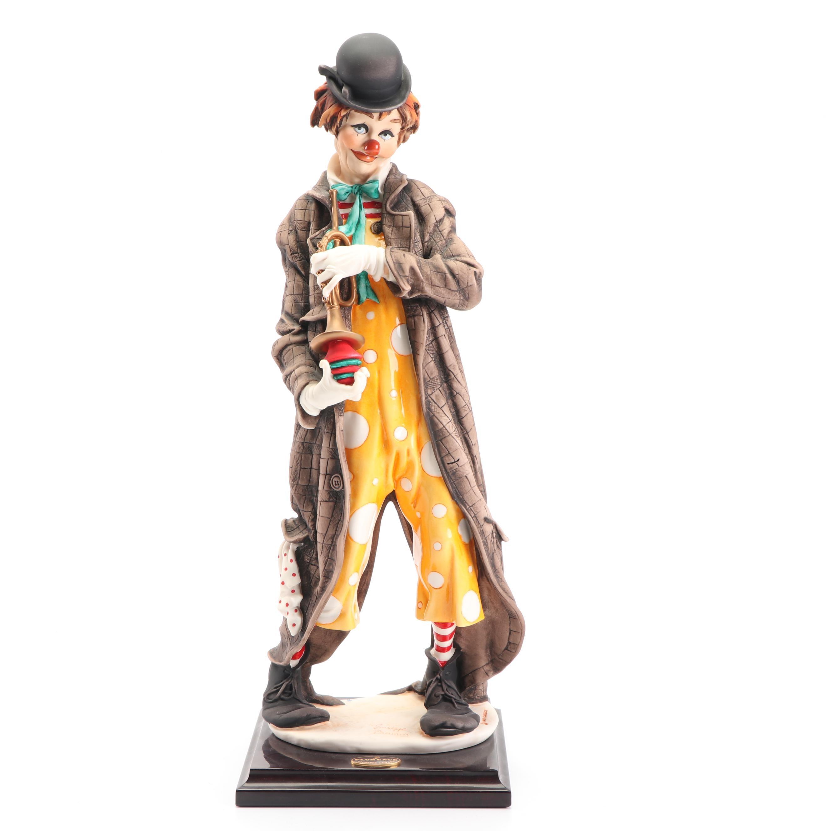 "Giuseppe Armani ""The Musical Clown"" Porcelain Sculpture, 1980s"