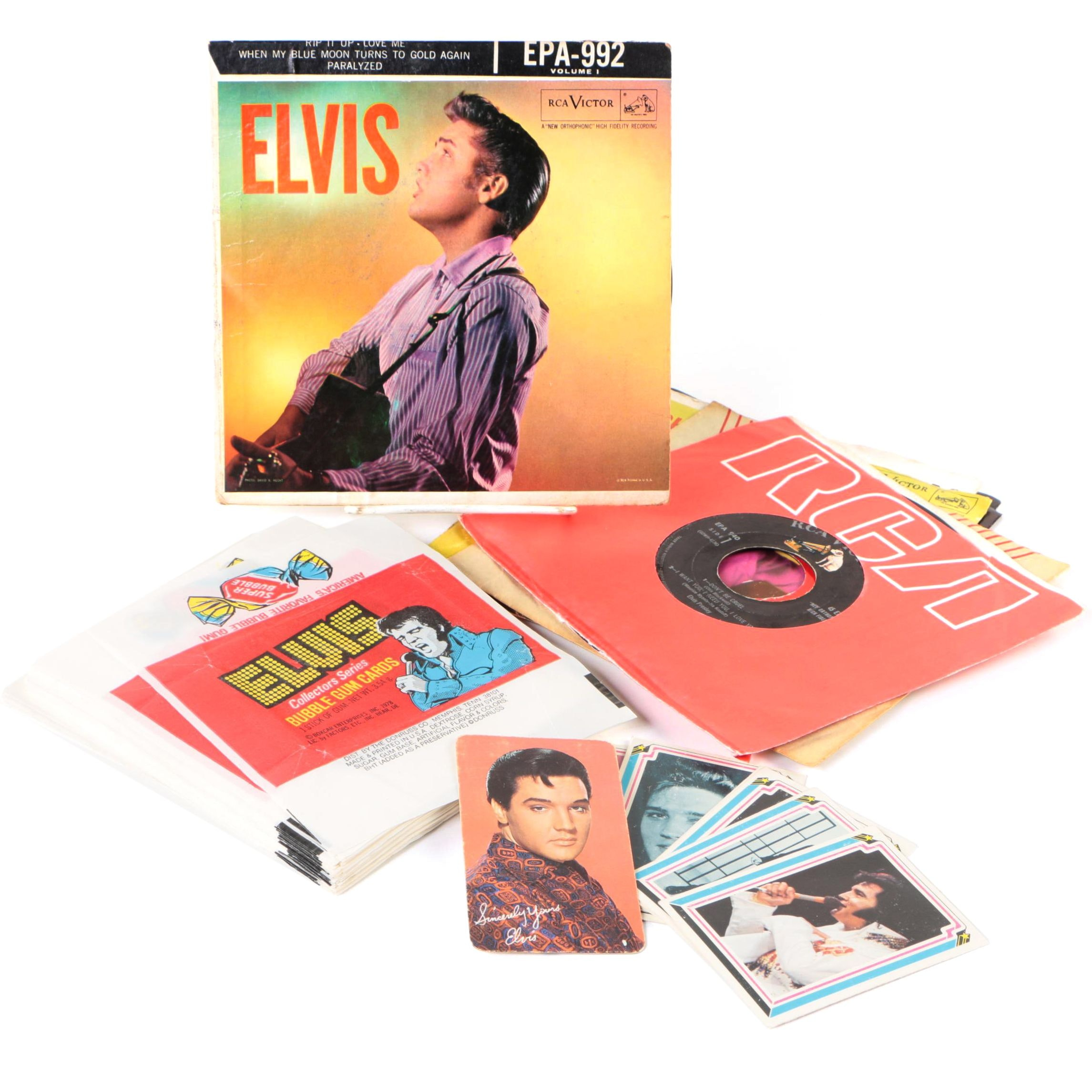 Elvis Presley 45 RPM Records with Bubble Gum Cards