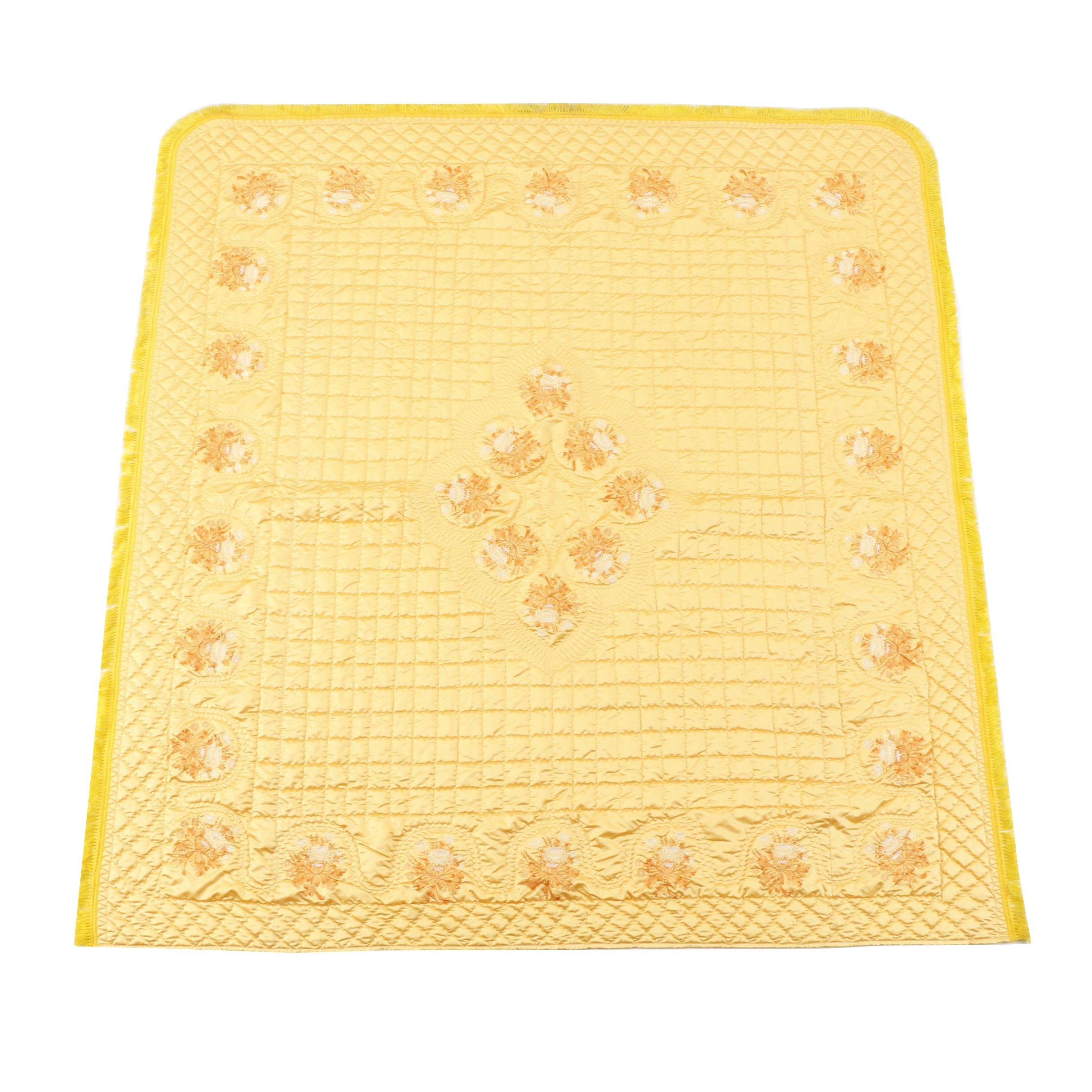 1960s Golden Rod Yellow Chinese-Inspired Queen Size Bedspread
