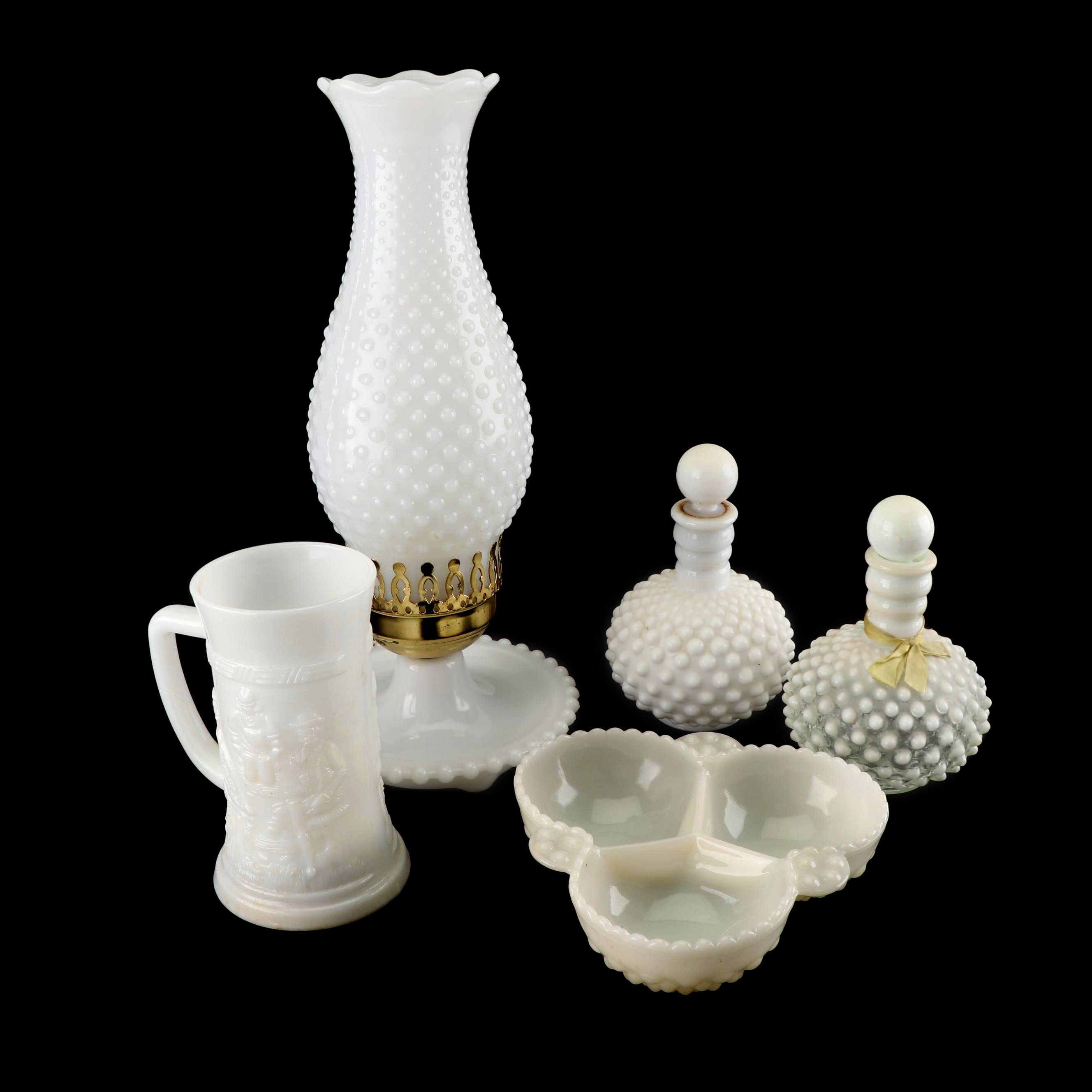 "Fenton ""Hobnail"" Milk and Opalescent Glass Cologne Bottle, Lamp and Tableware"