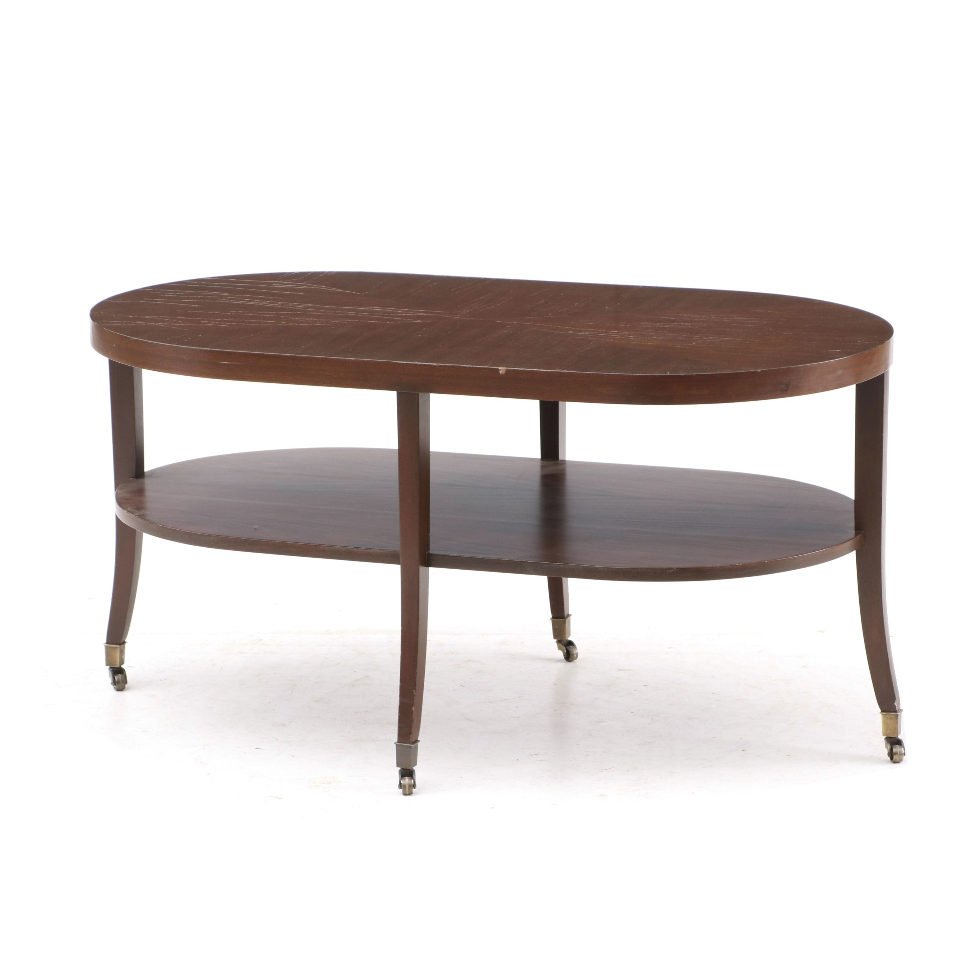 Mid Century Mahogany Veneer Coffee Table, Mid-20th Century