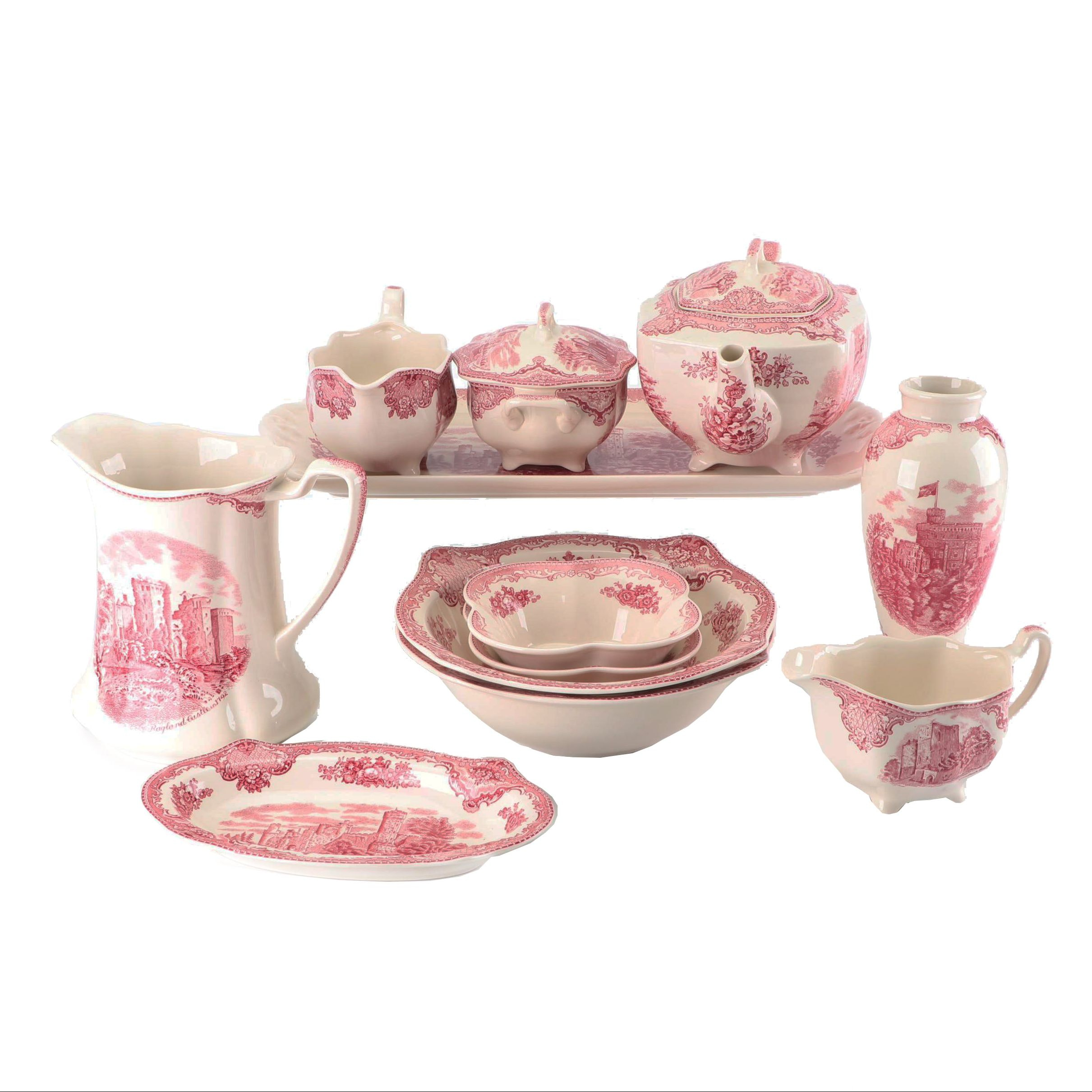 """Johnson Brothers """"Old Britain Castles"""" Pink Serveware and Vase"""