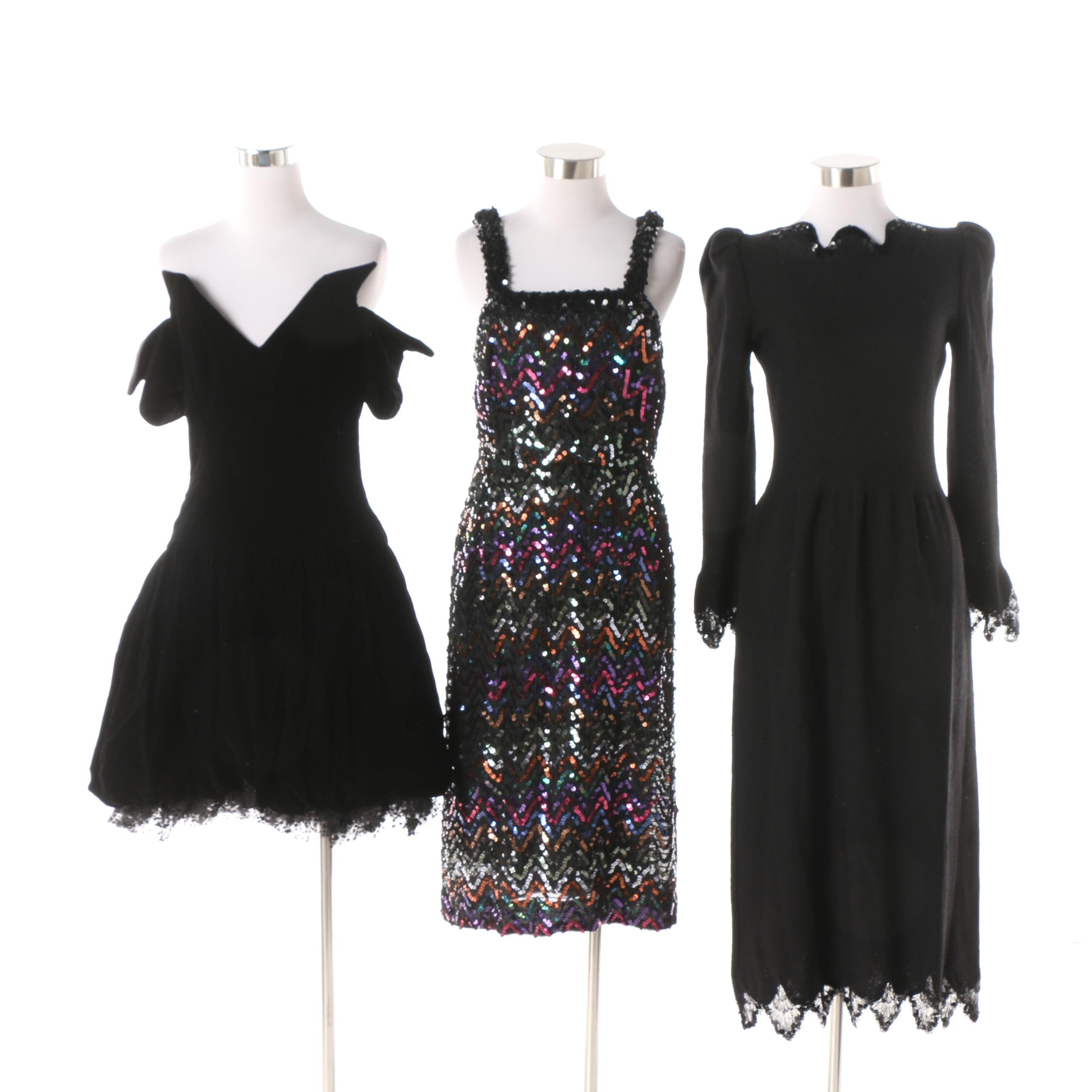 Circa 1980s Vintage Lilli Diamond Chevron Sequined and Other Evening Dresses