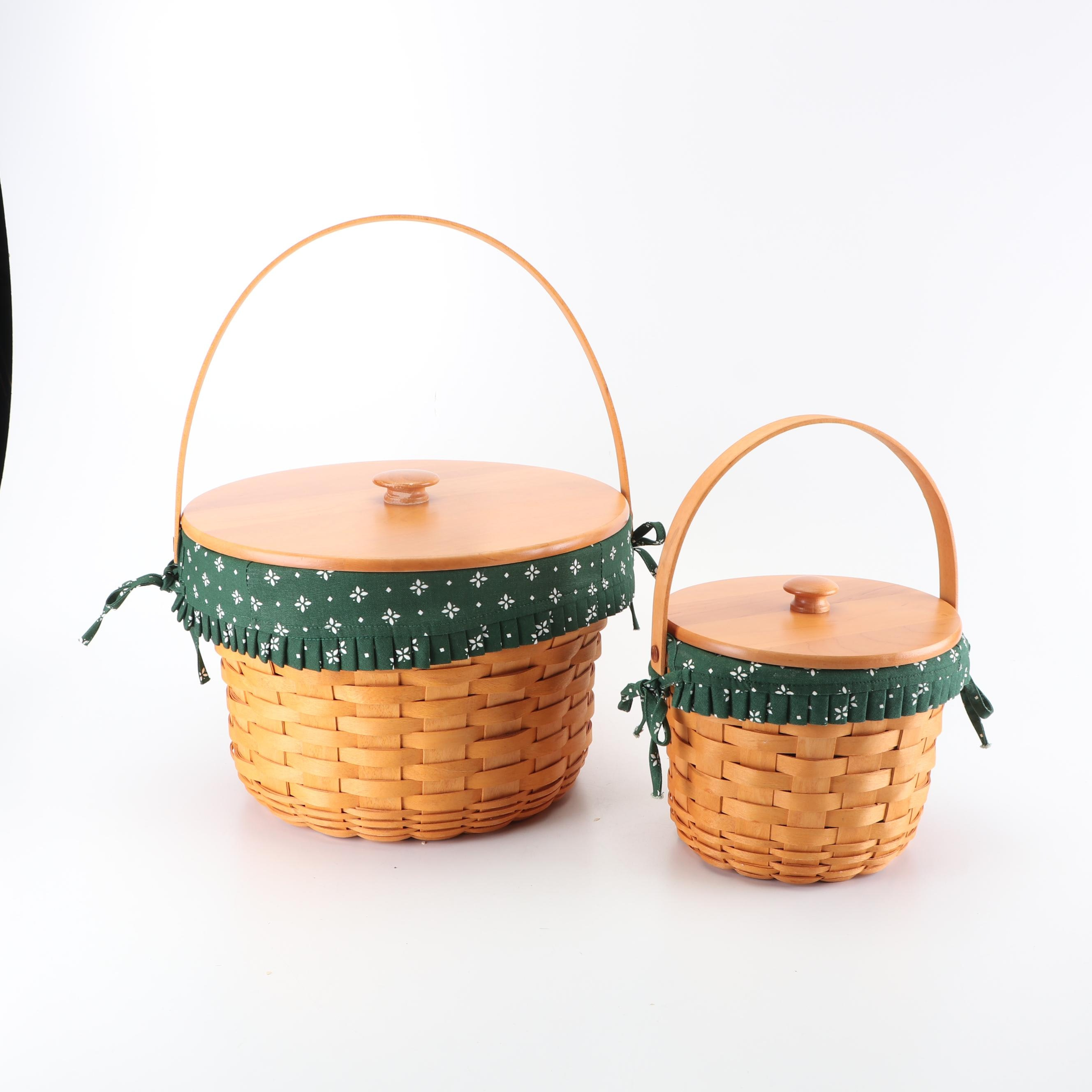 "Longaberger Lidded Round Baskets with ""Heritage Green"" Liners, 2000"