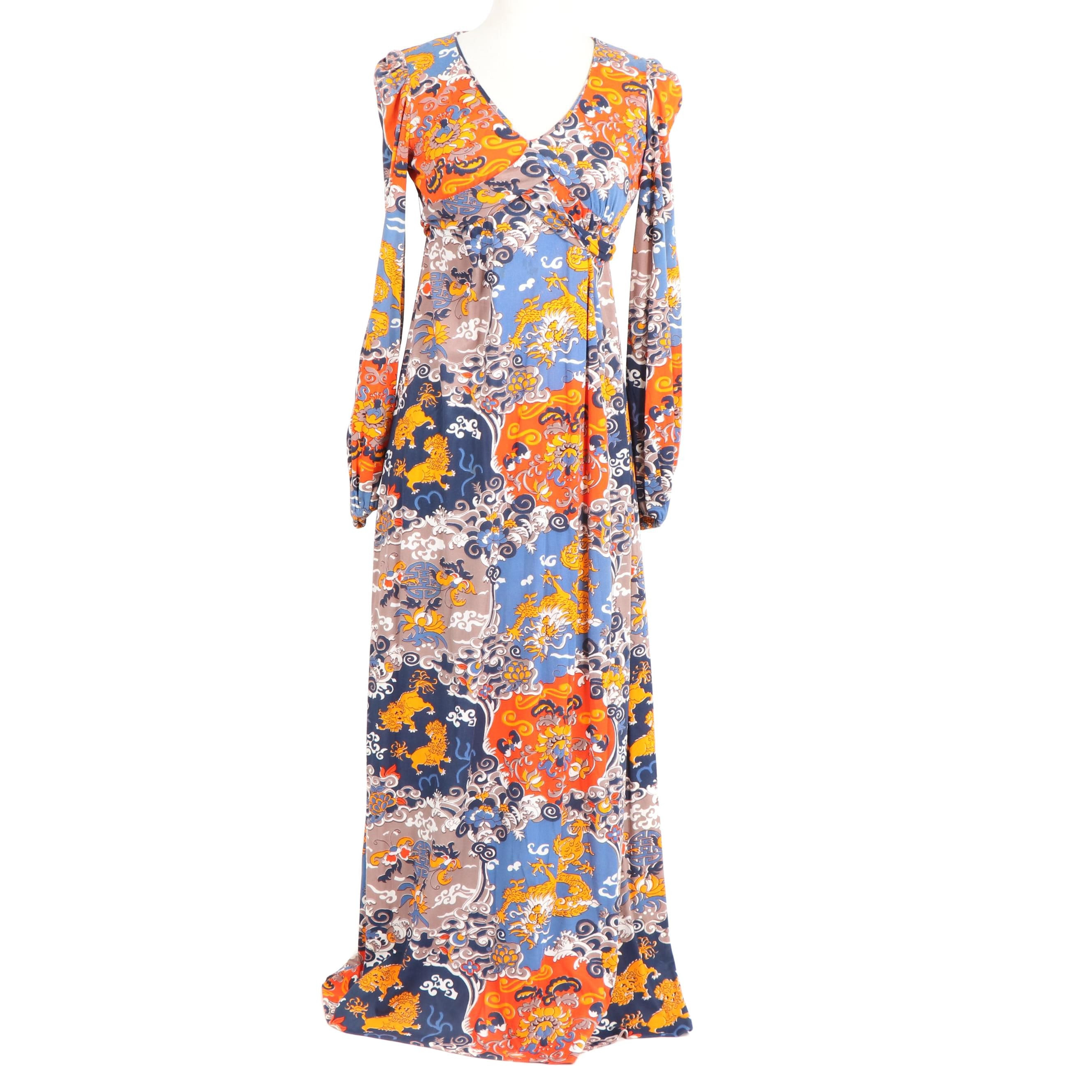 Women's Vintage Patricia Fair Asian Inspired Maxi Dress