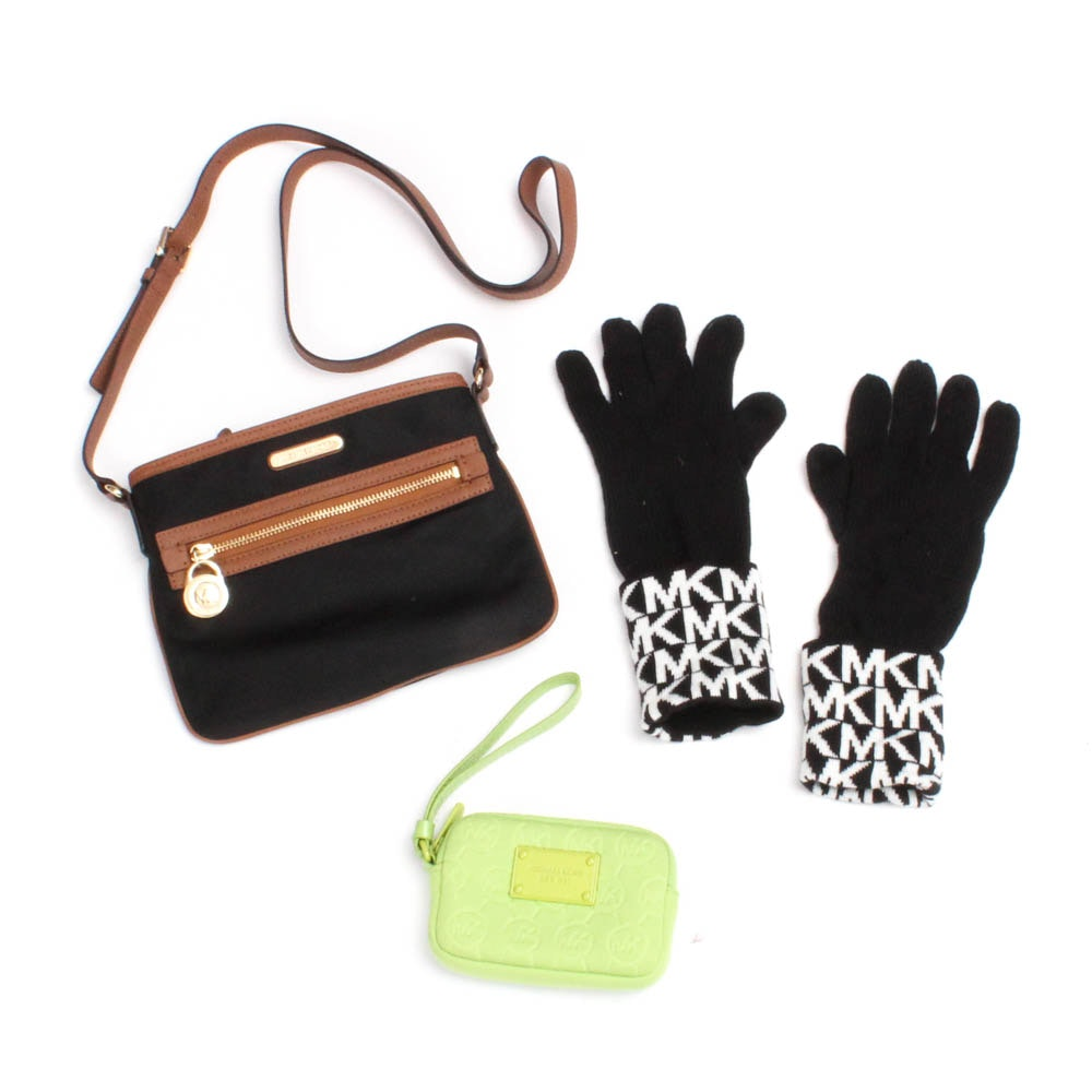 Michael Kors Handbag, Wristlet and Gloves
