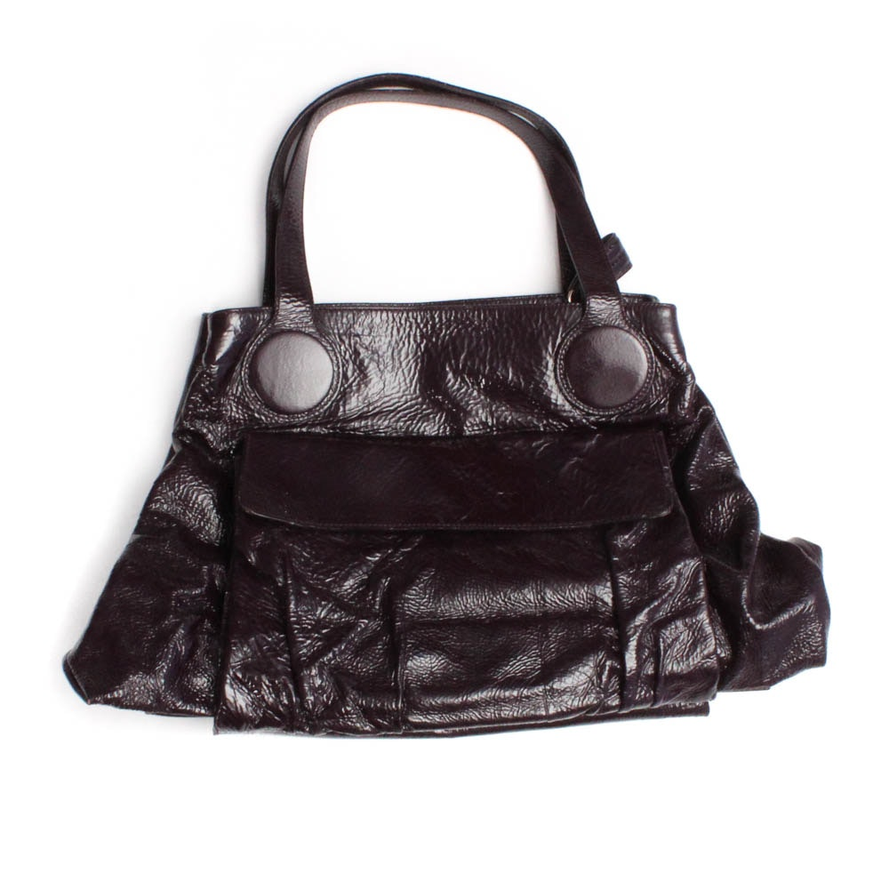 "Goldenbleu ""Caldwell"" Convertible Crinkled Patent Leather Handbag in Plum"