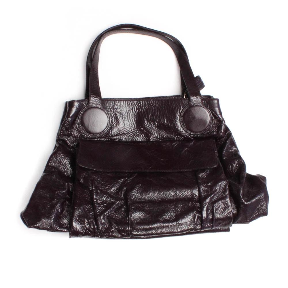 "Goldenbleu ""Caldwell"" Convertible Crinkled Patent Leather Handbag in Plum"