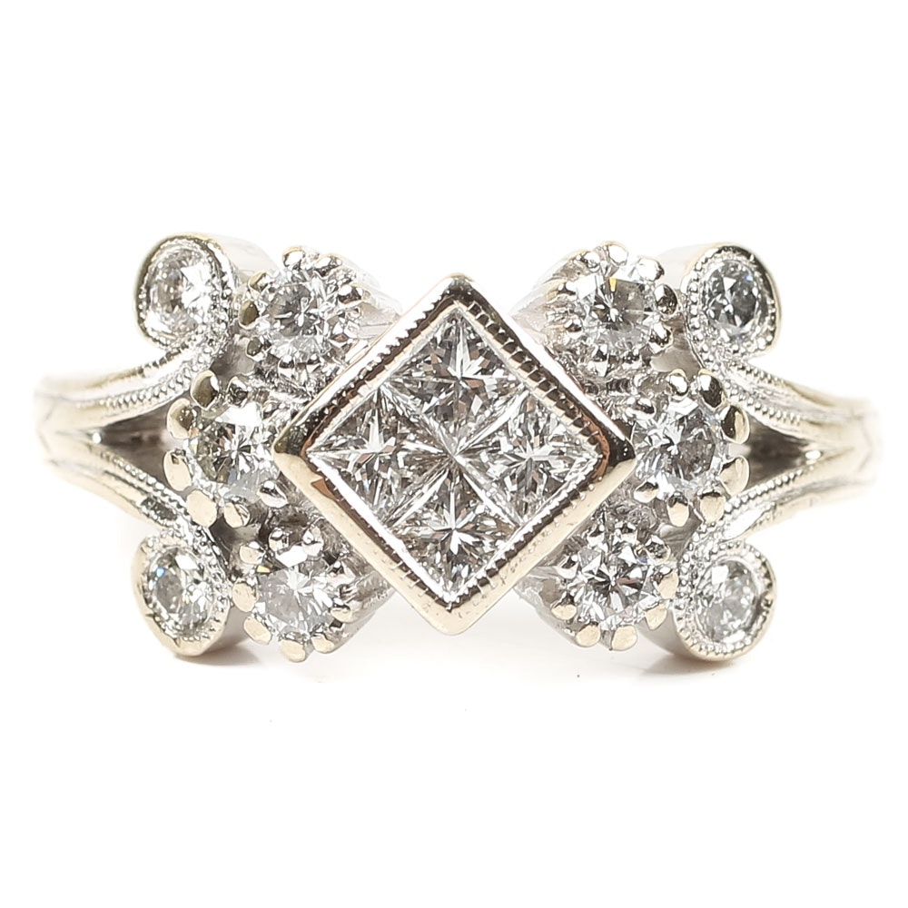 18K White Gold Diamond Ring with Milgrain Details