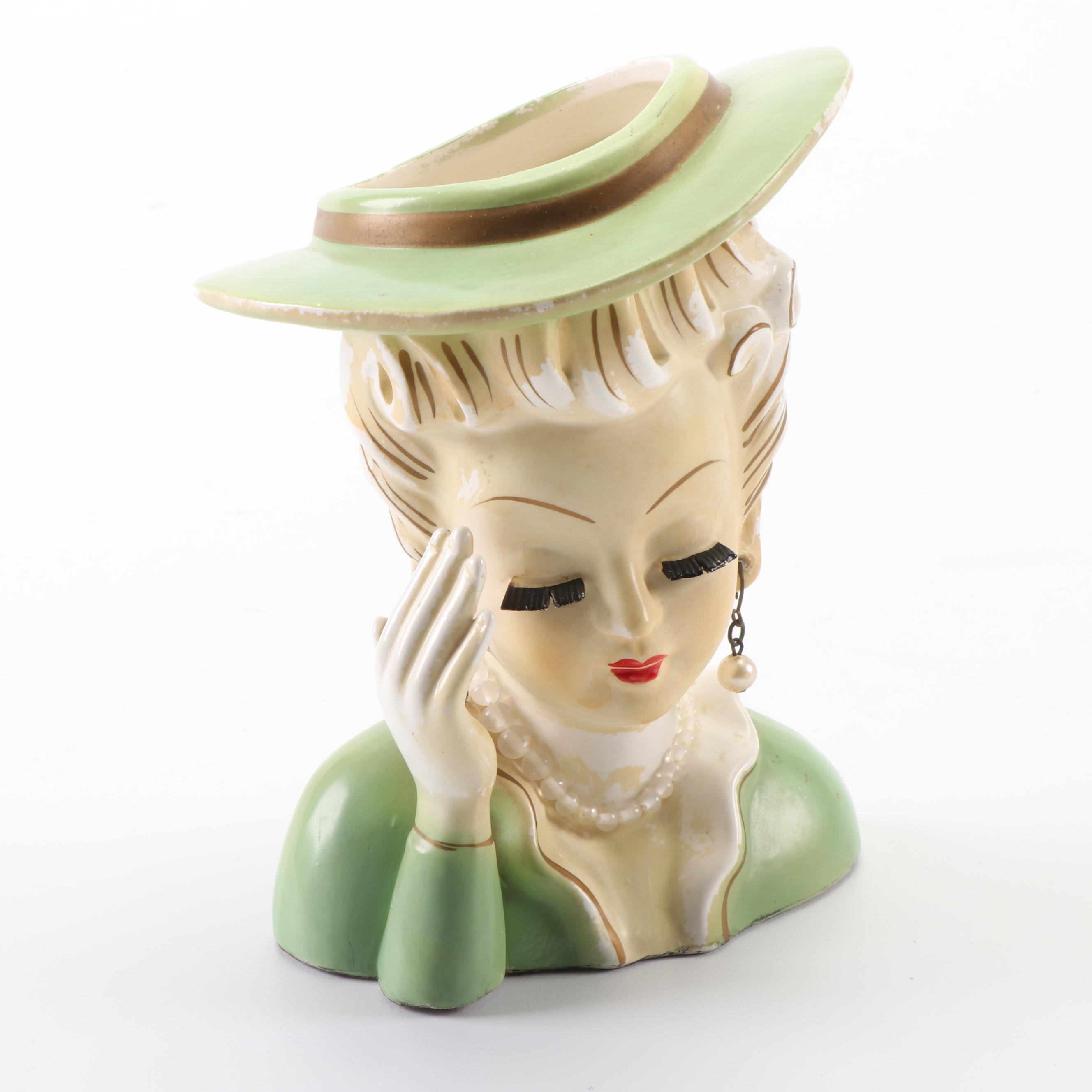 "Tilso Japanese ""Headache"" Hand-Painted Lady Head Vase"