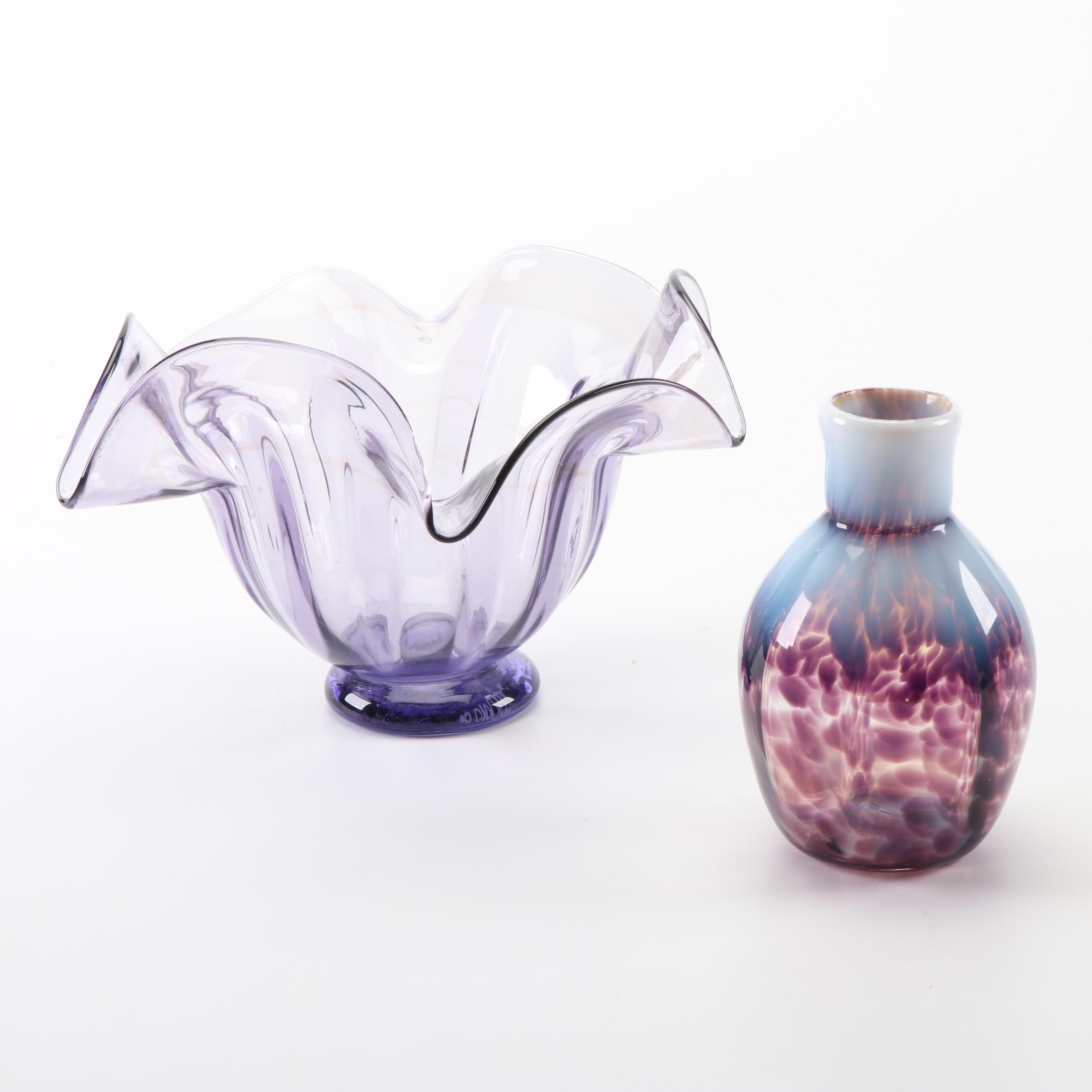 A. Carman Signed Hand Blown Glass Vases